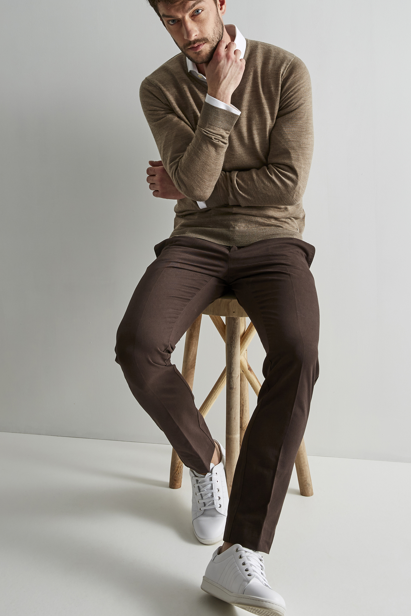 Sweater Beige Sport Man