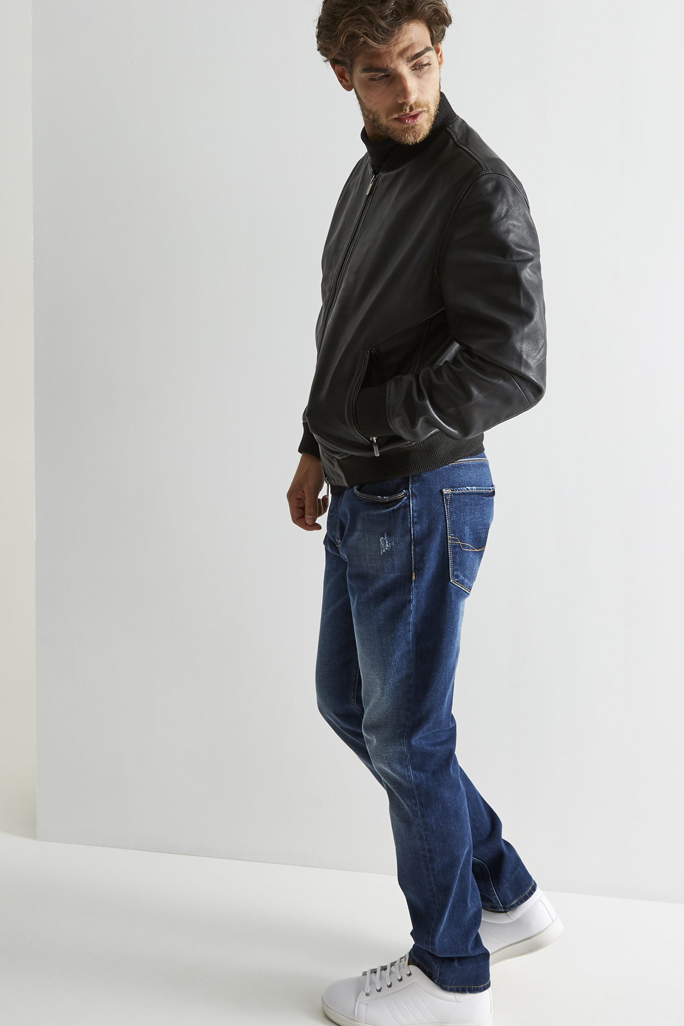 Leather Jacket Black Casual Man