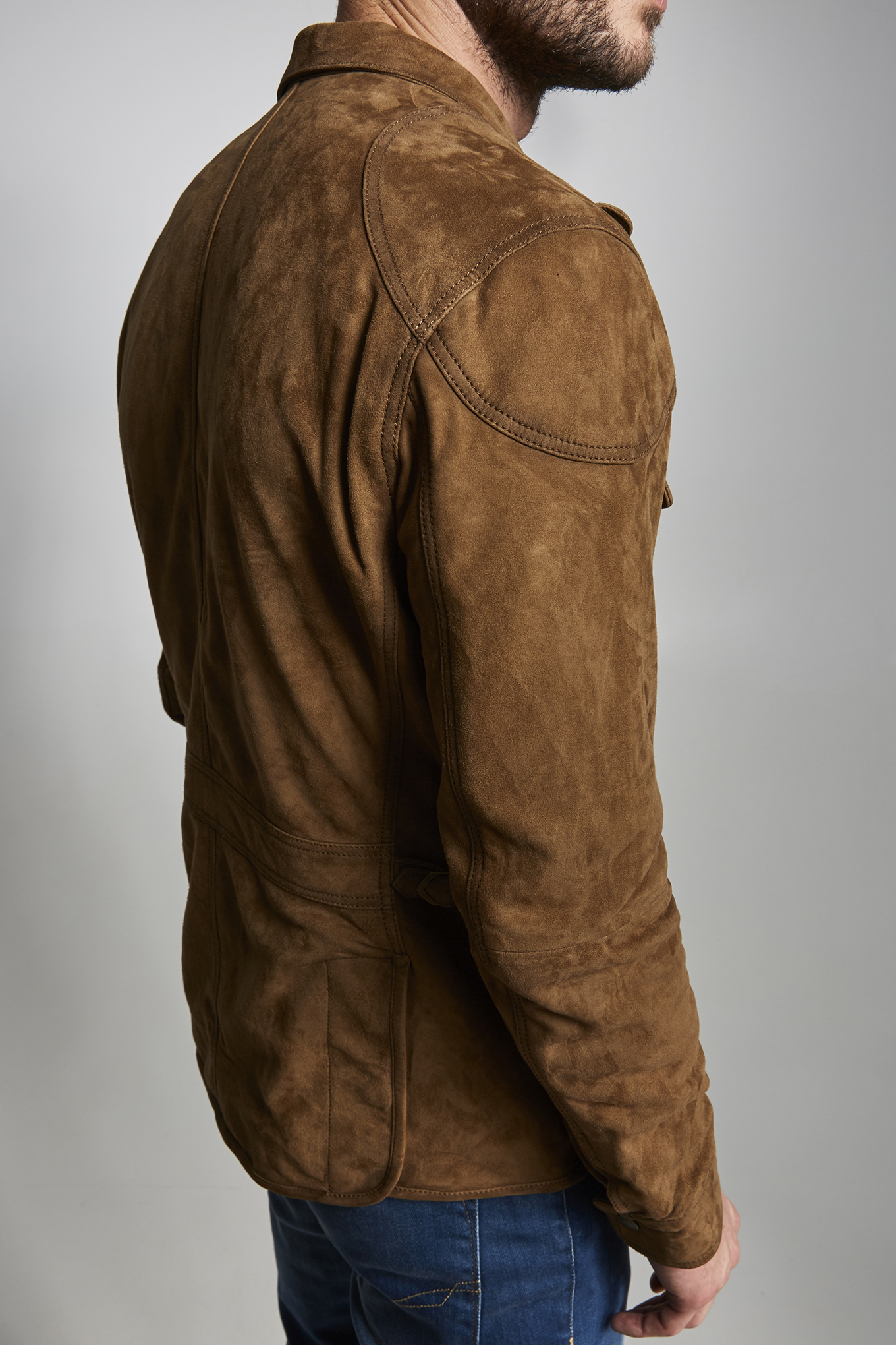 Leather Jacket Camel Casual Man