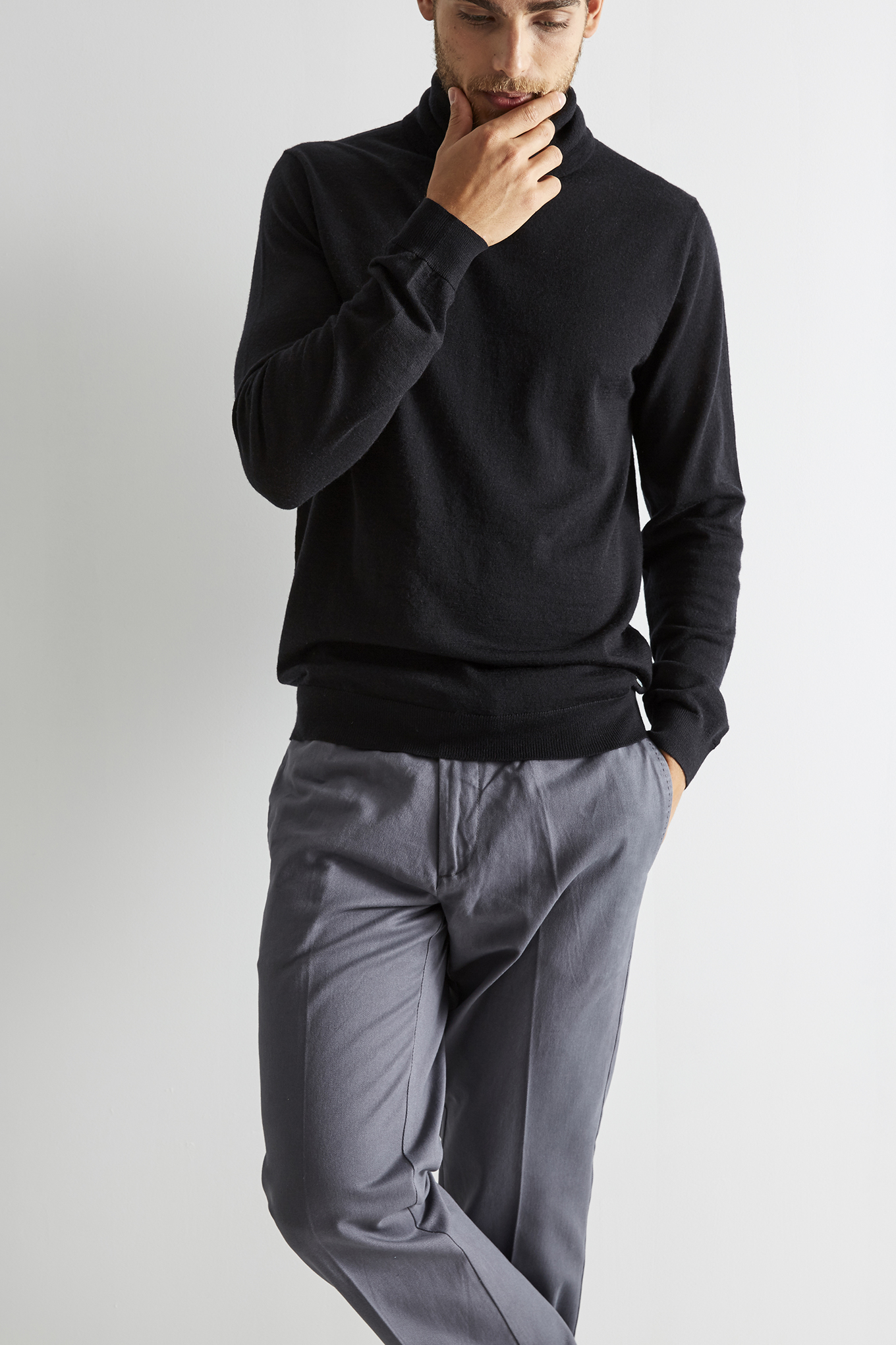 Chino Trousers Dark Grey Casual Man