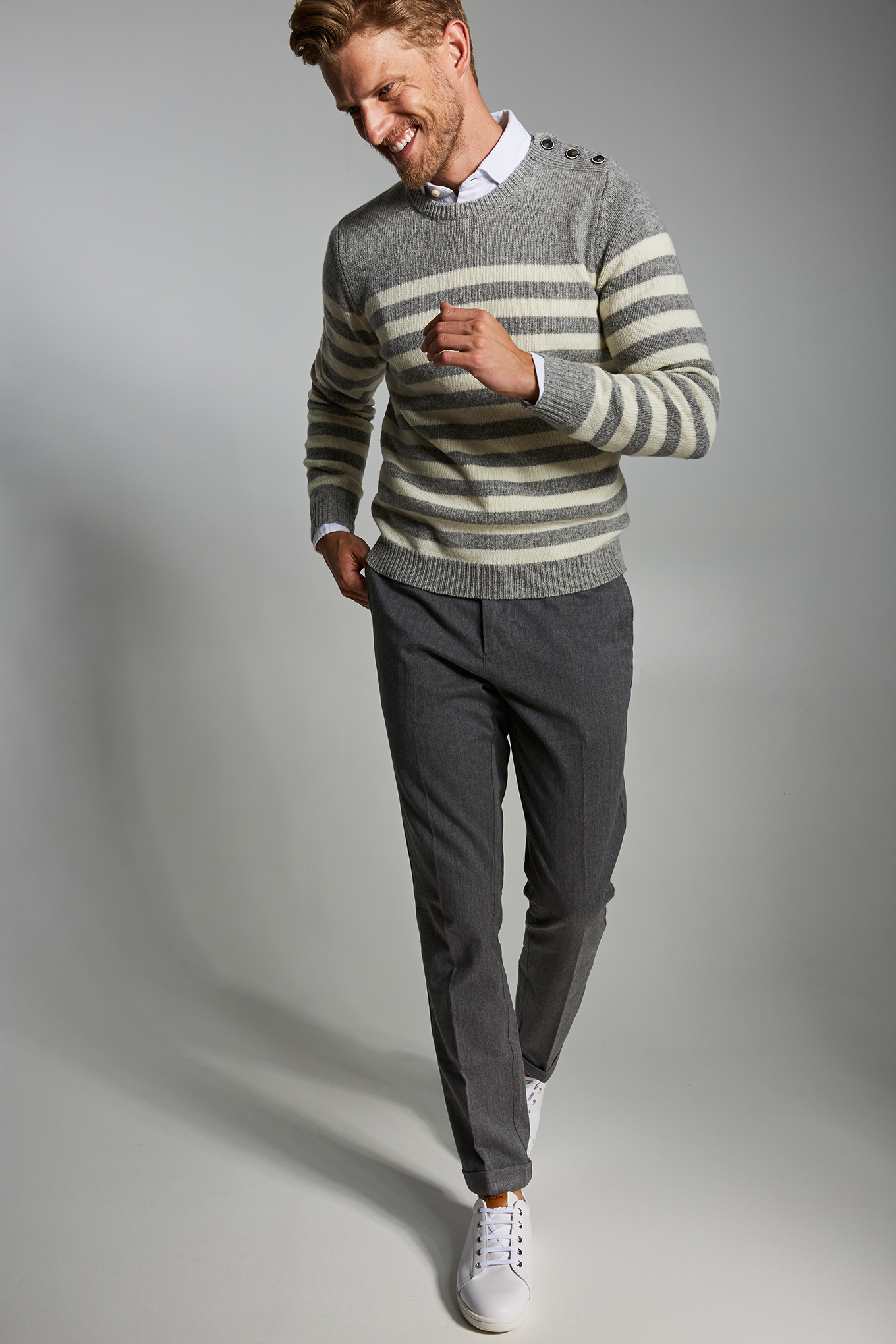 Chino Trousers Mix Grey Casual Man