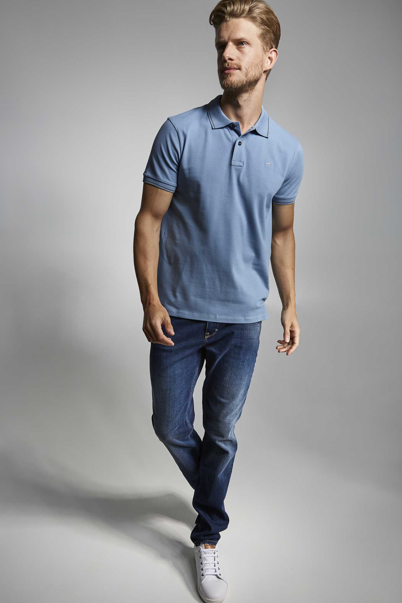 Polo Piquet Medium Blue Casual Man