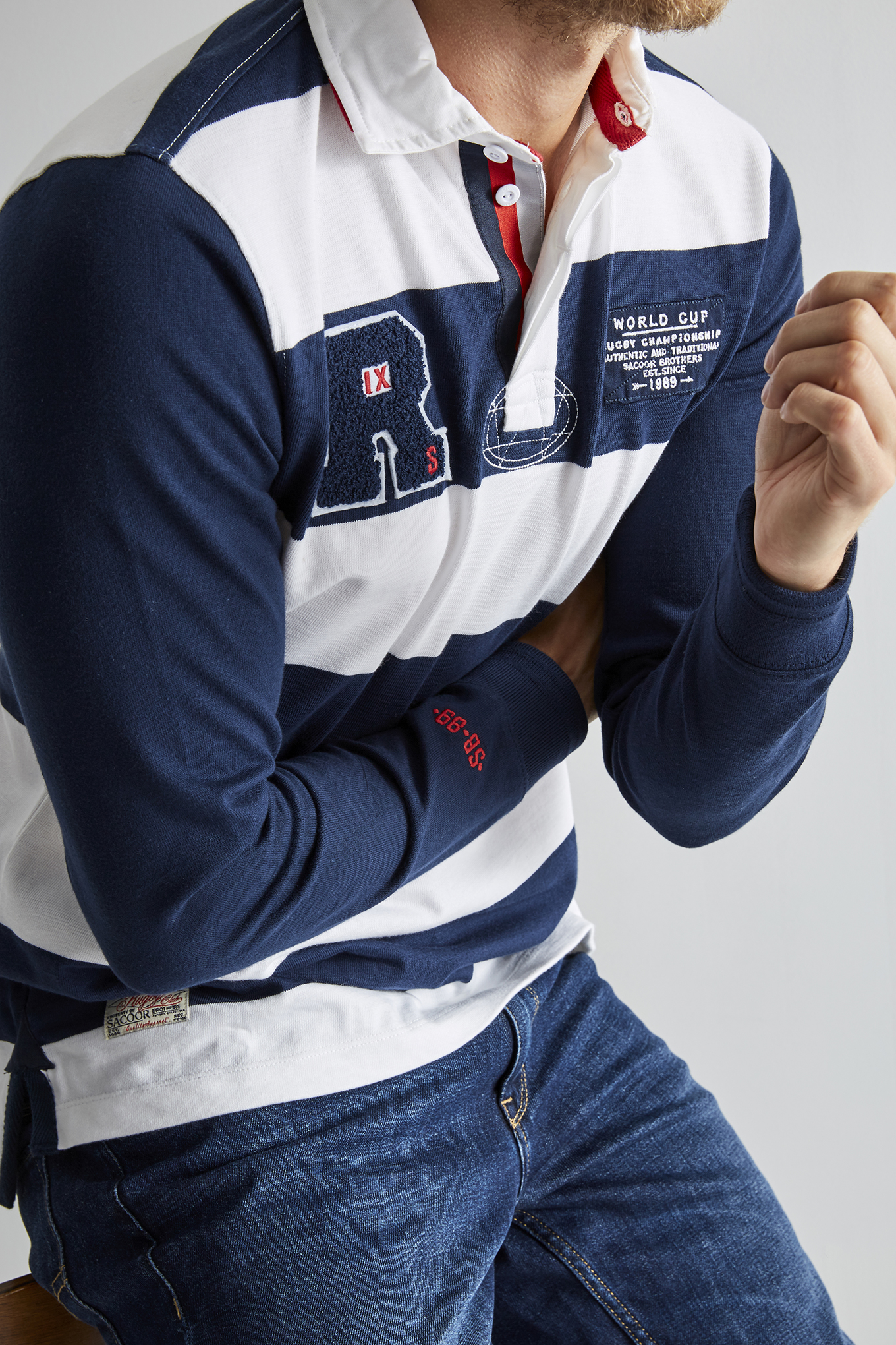 Polo Rugby Dark Blue Sport Man