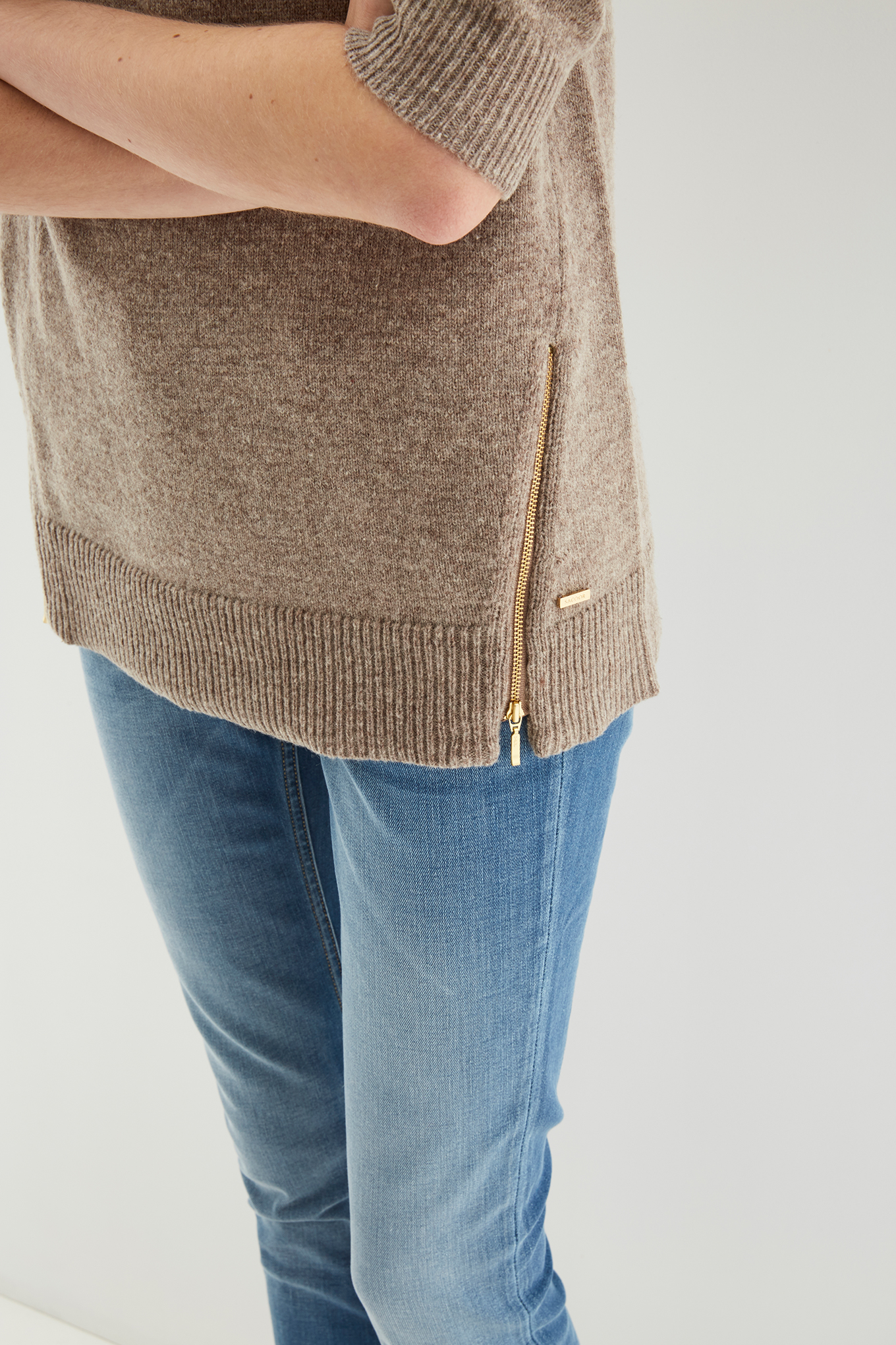 Sweater Dark Beige Casual Woman