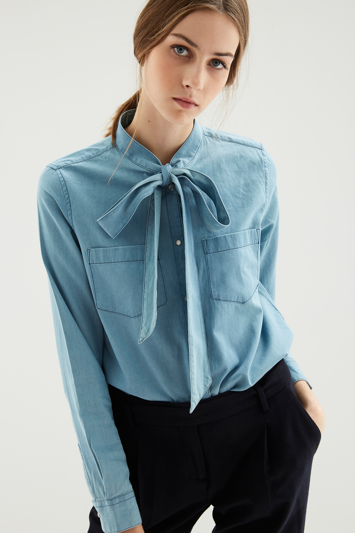 Shirt Medium Blue Casual Woman