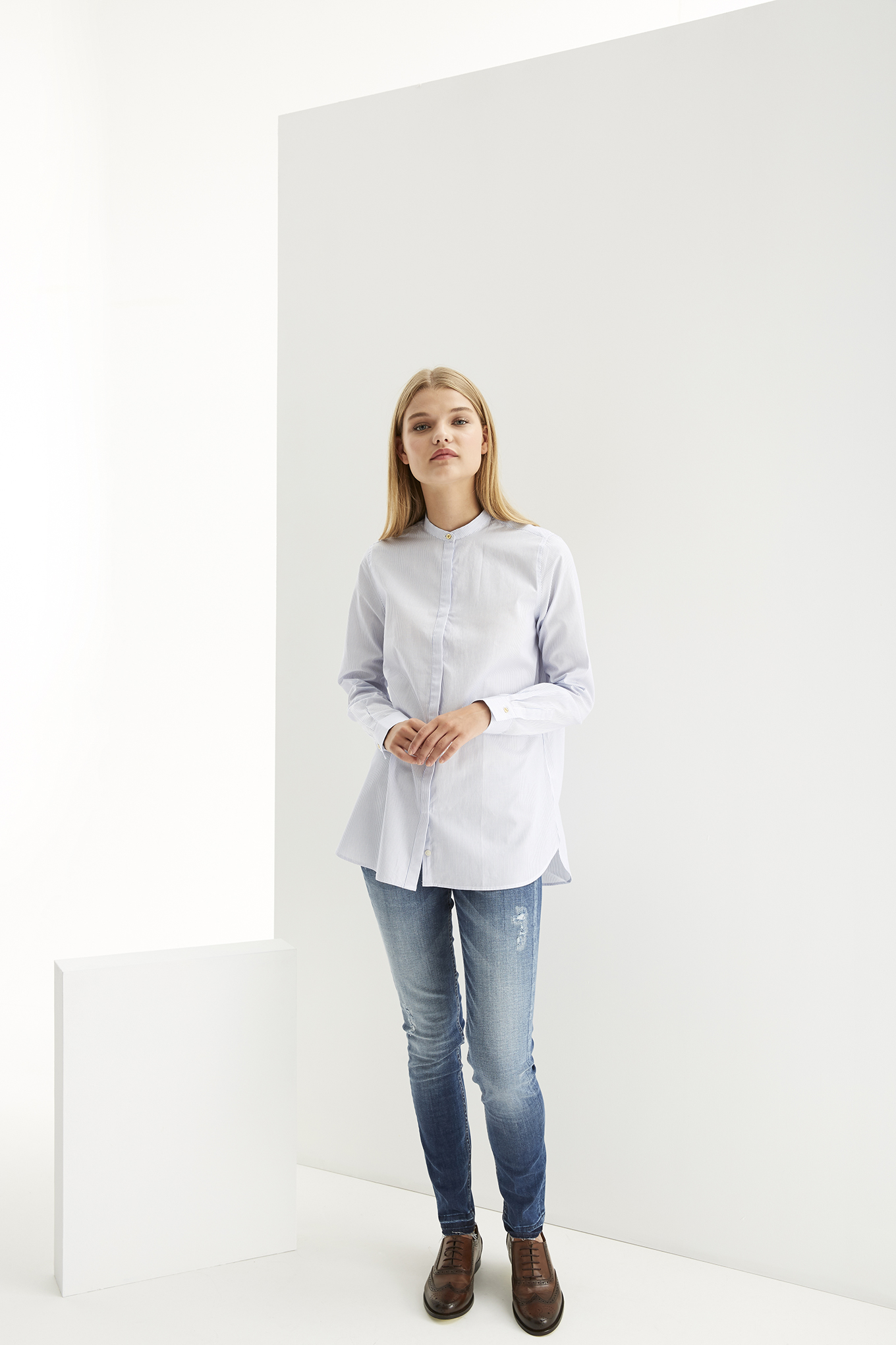 Shirt Light Blue Casual Woman