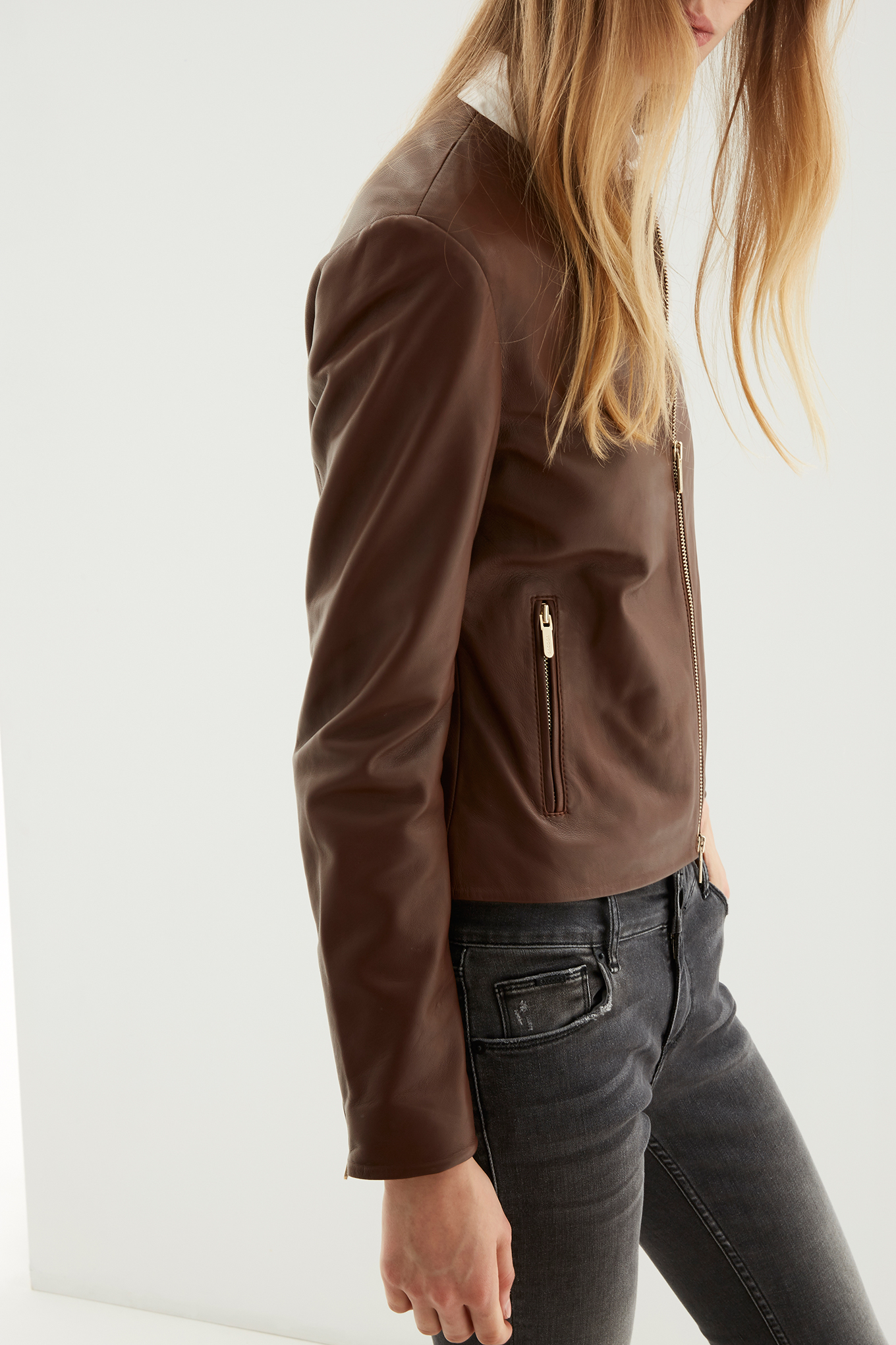 Leather Jacket Brown Casual Woman