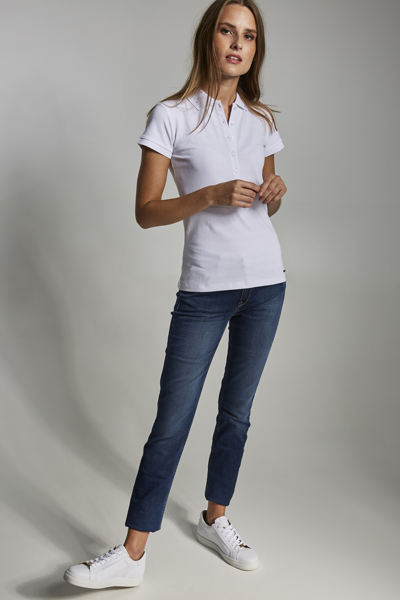 Polo Piquet White Casual Woman