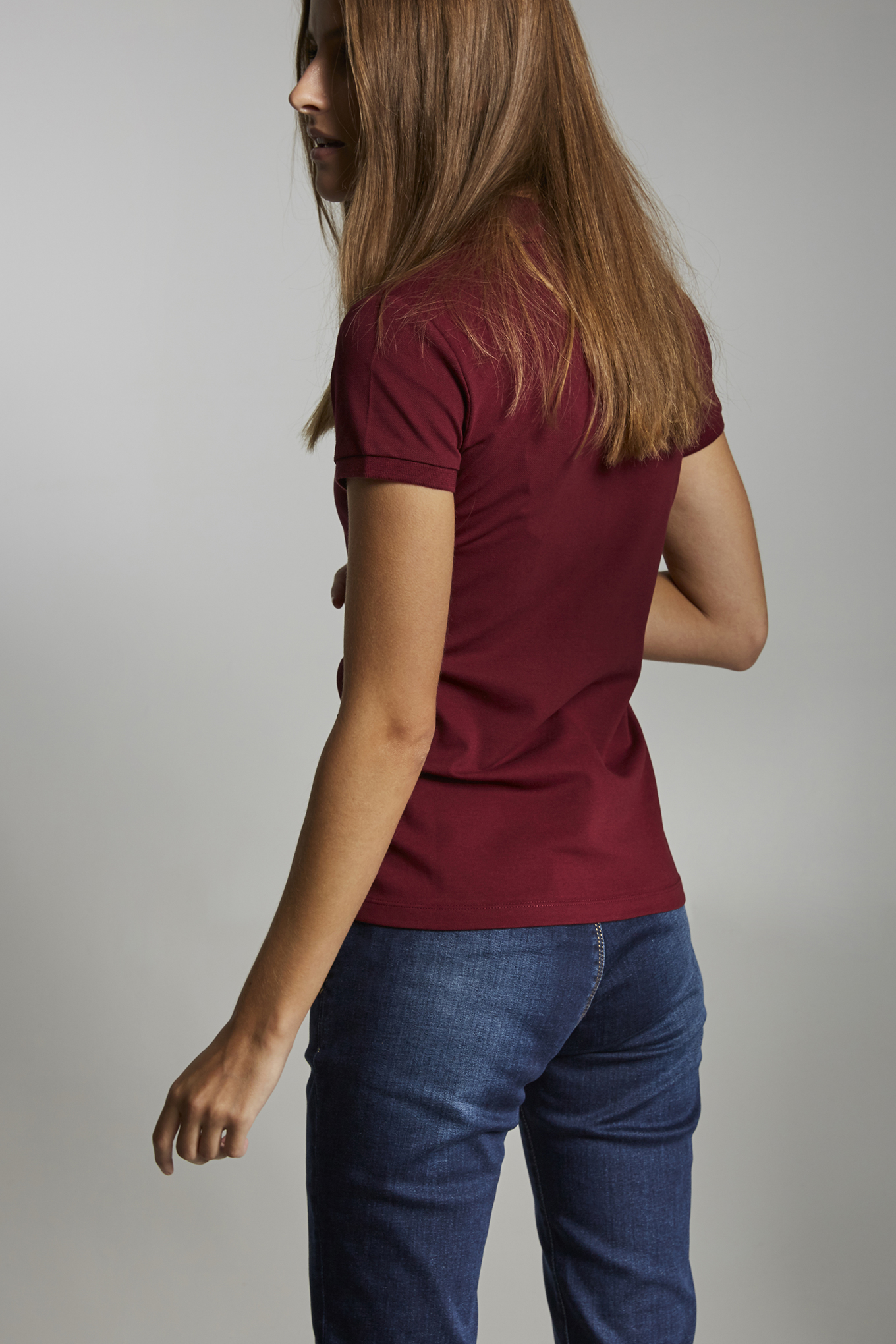 Polo Piquet Bordeaux Casual Woman