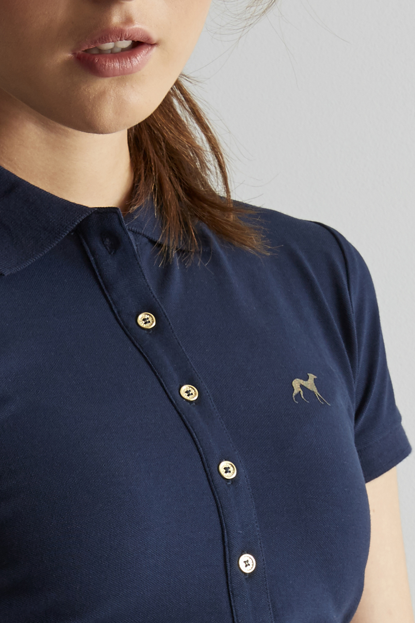 Polo Piquet Dark Blue Casual Woman