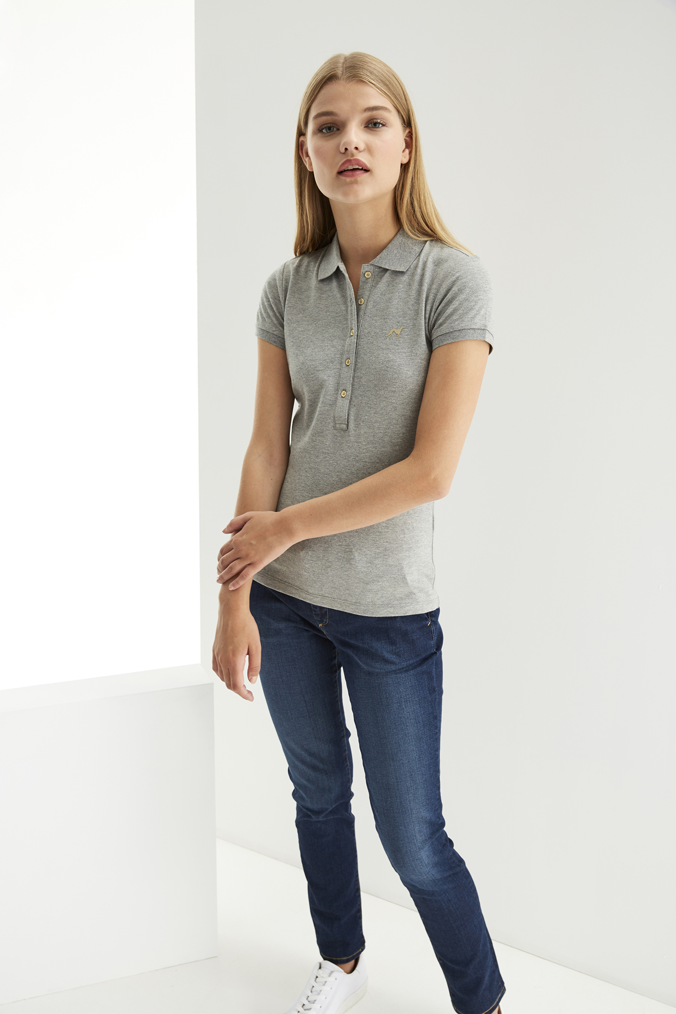 Polo Piquet Mix Grey Casual Woman