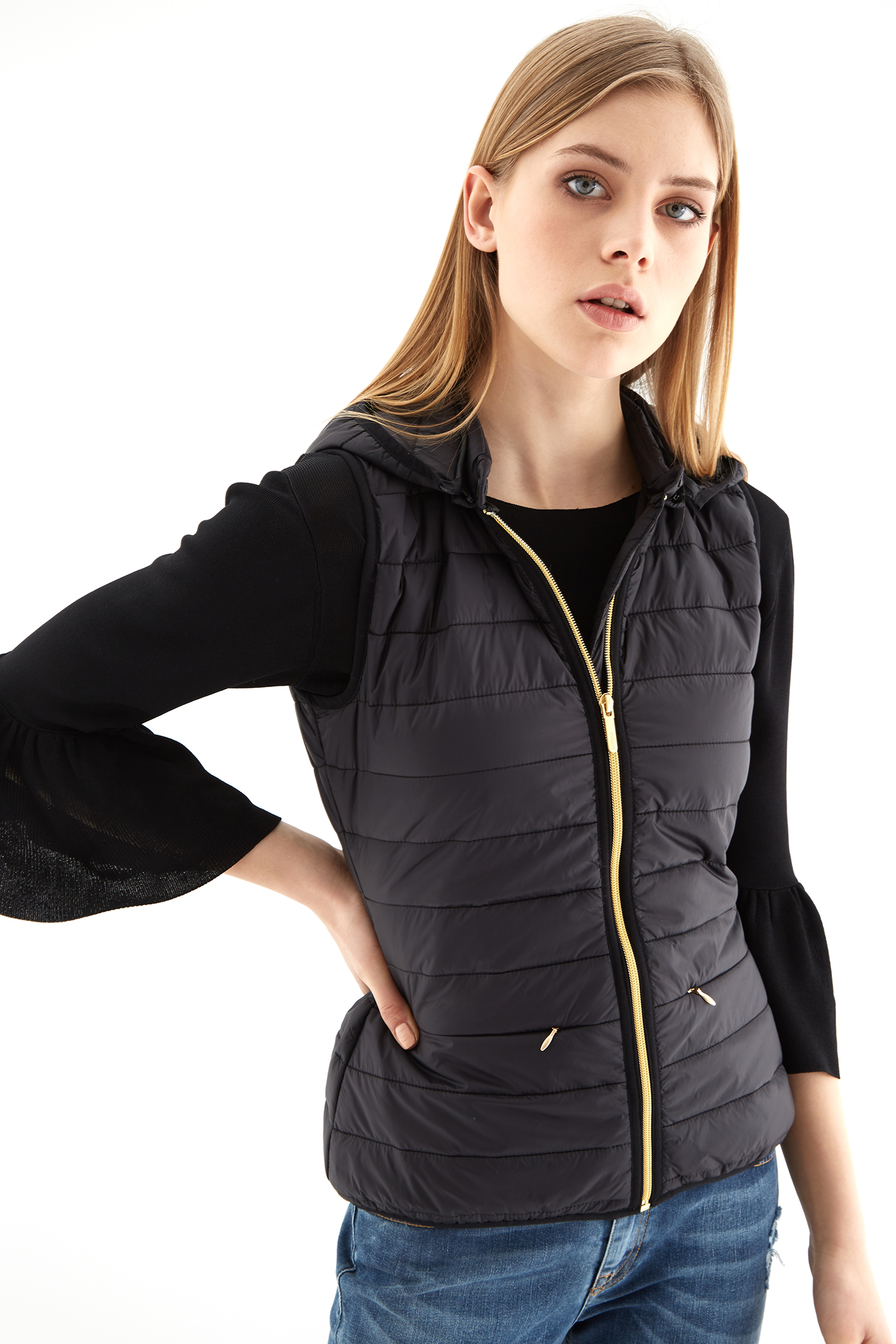 Waist Coat Black Casual Woman
