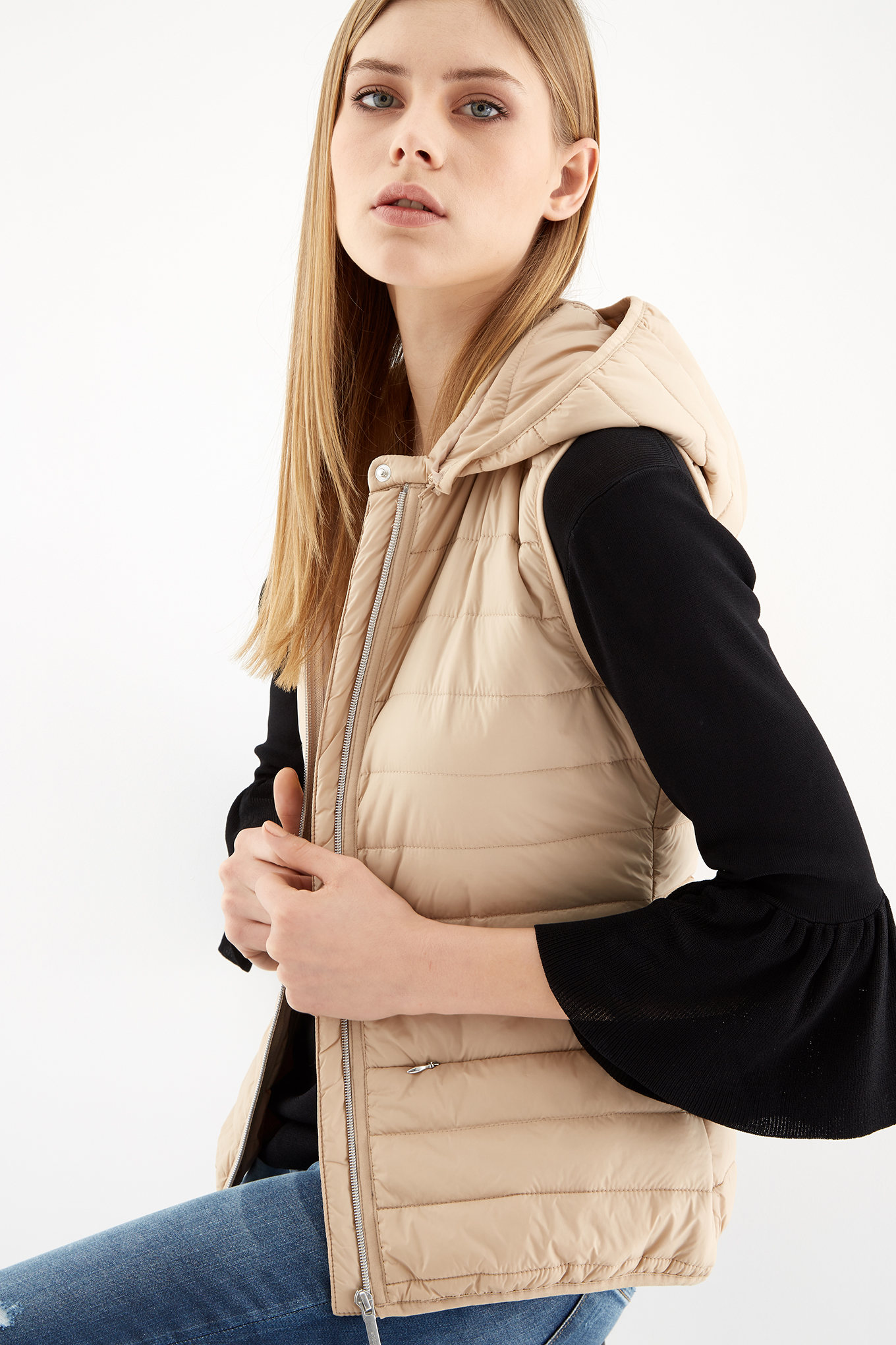 Waist Coat Sand Casual Woman
