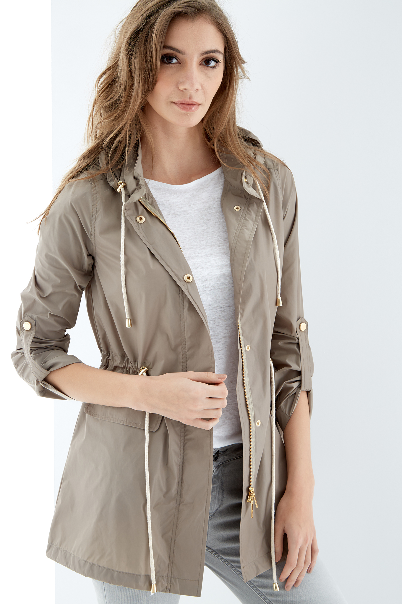 Parka Beige Claro Casual Mulher