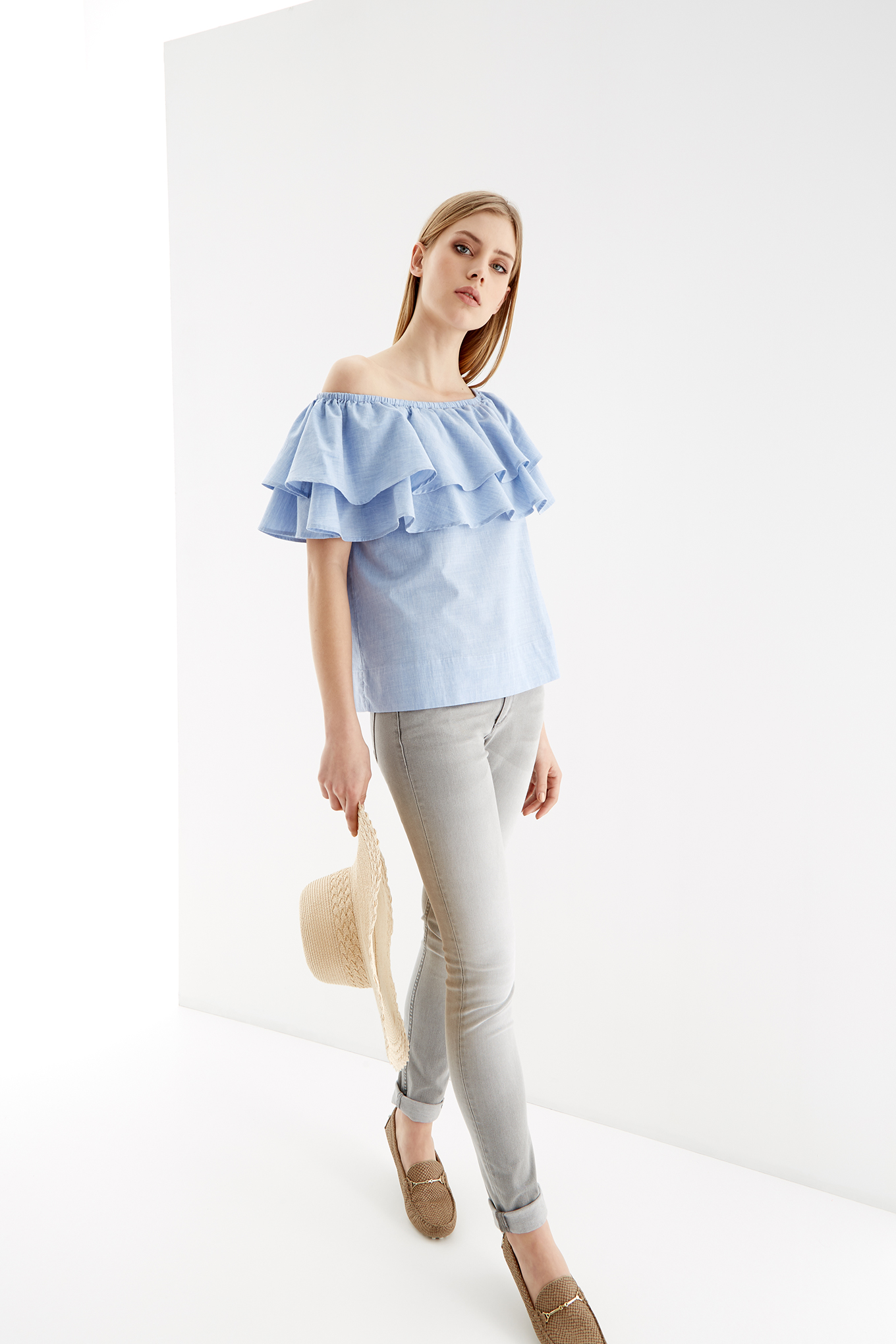 Blouse Light Blue Casual Woman