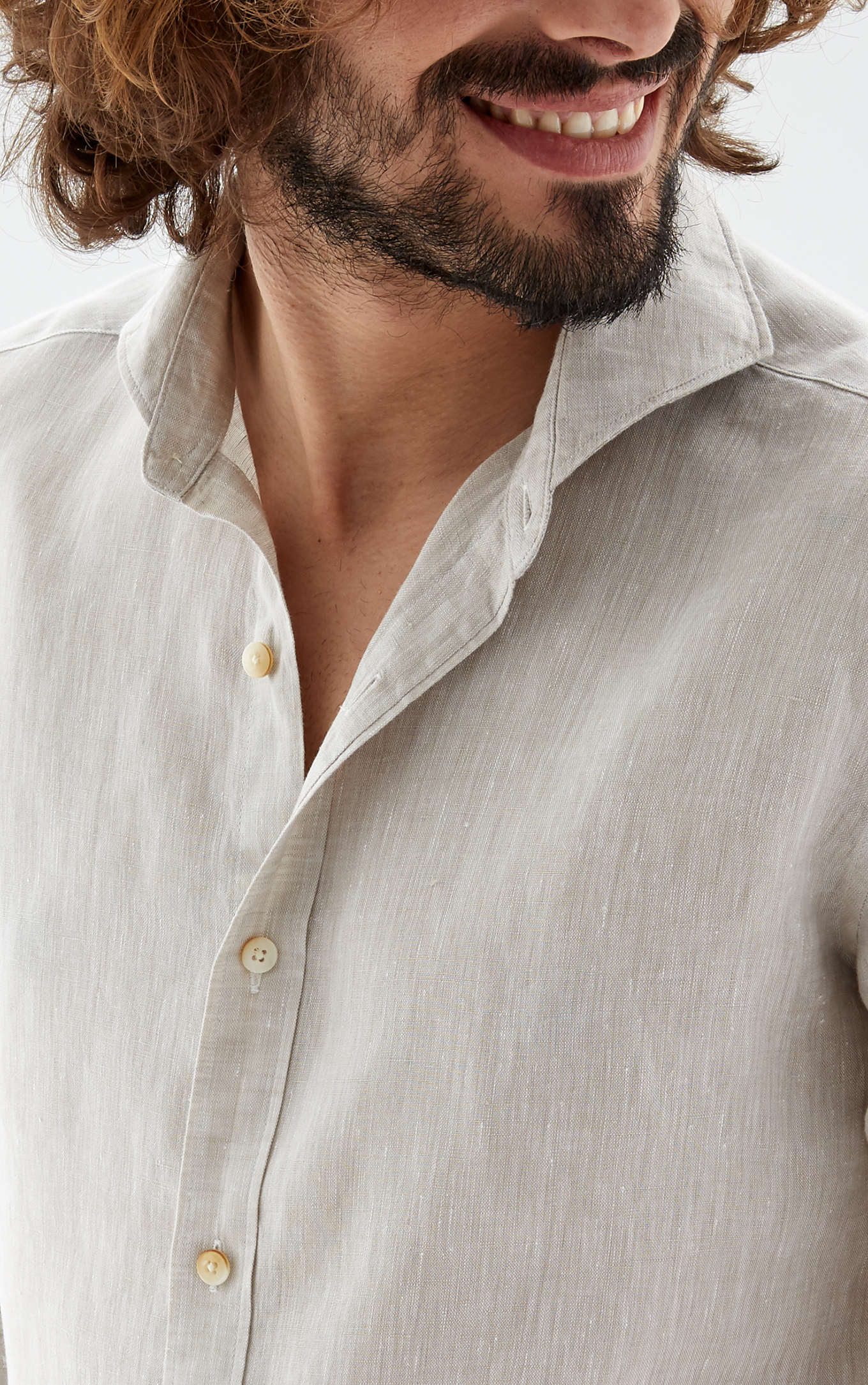 Shirt Beige Casual Man