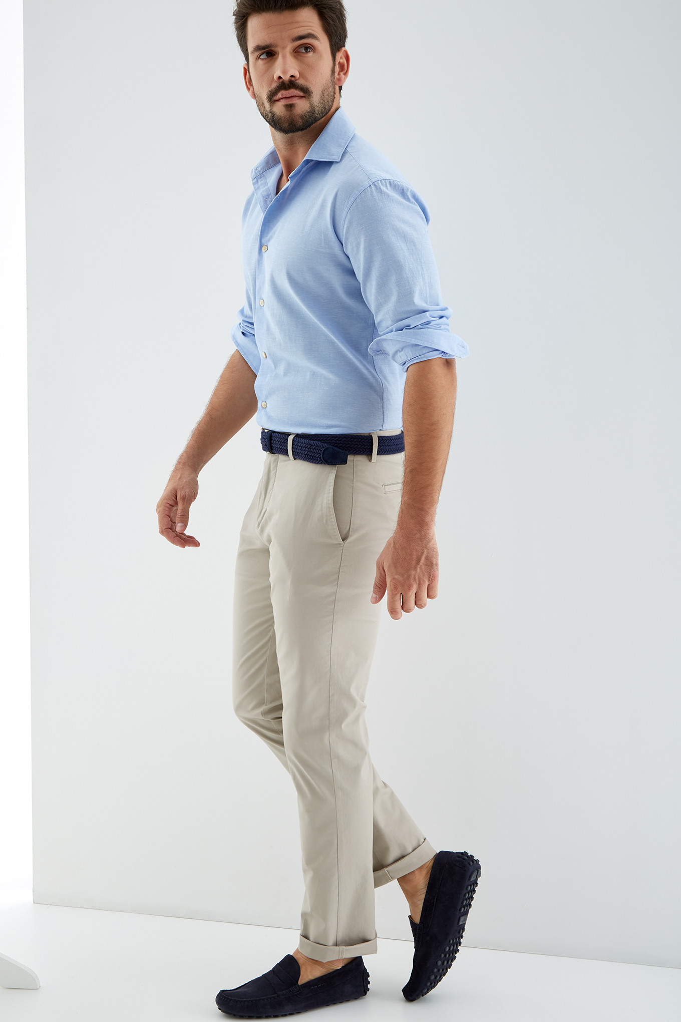 Shirt Light Blue Casual Man