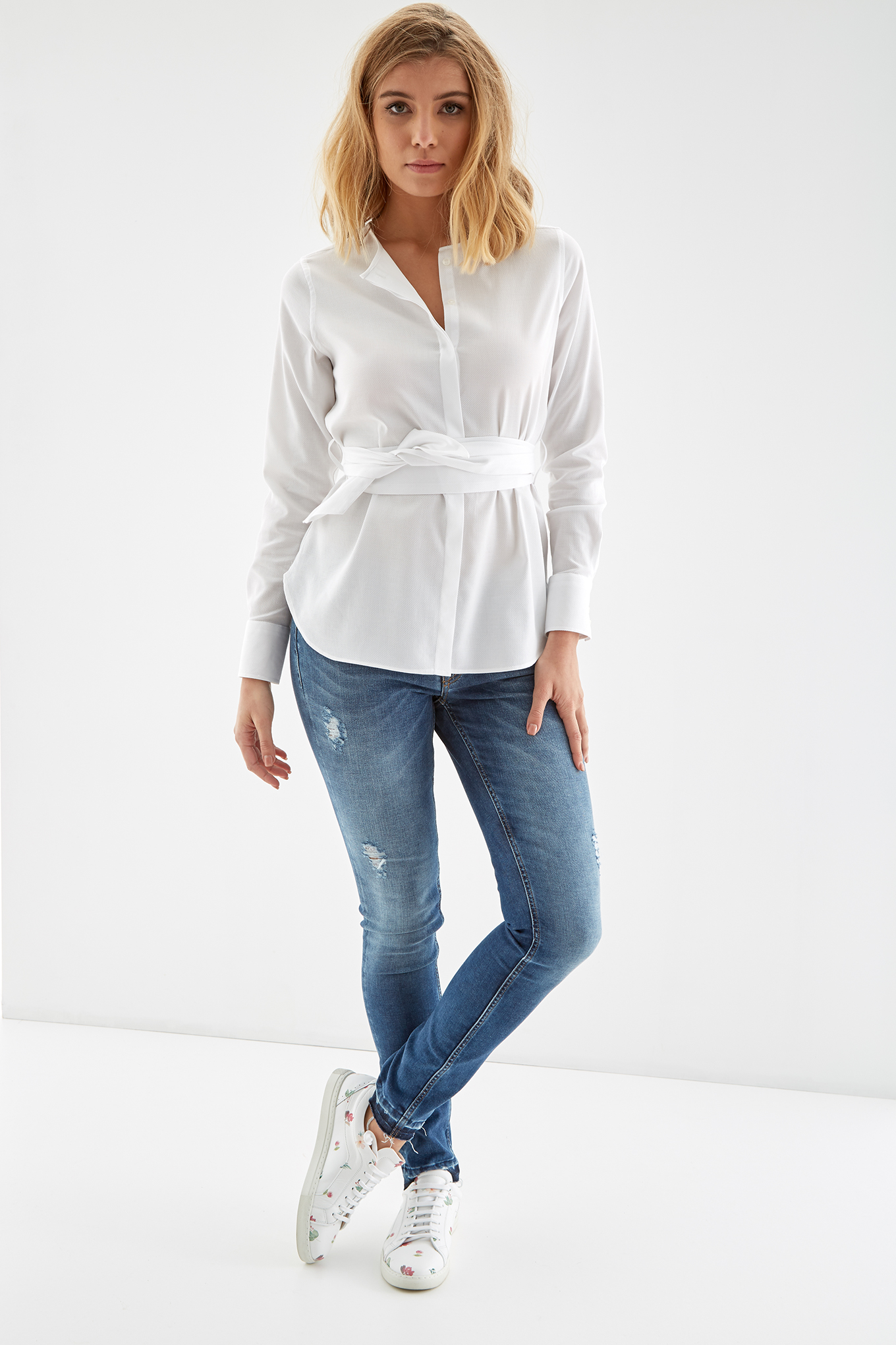Camisa Branco Casual Mulher