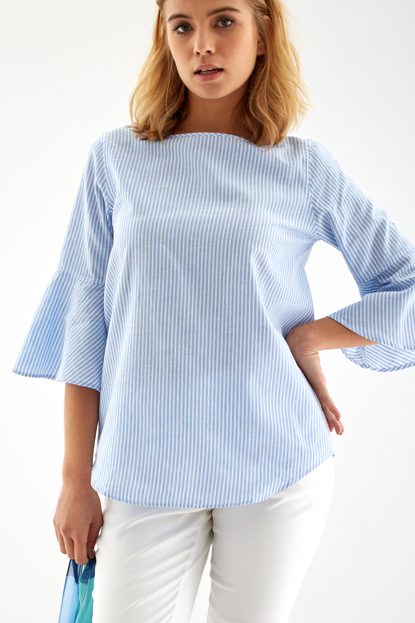 Blouse Stripes Casual Woman