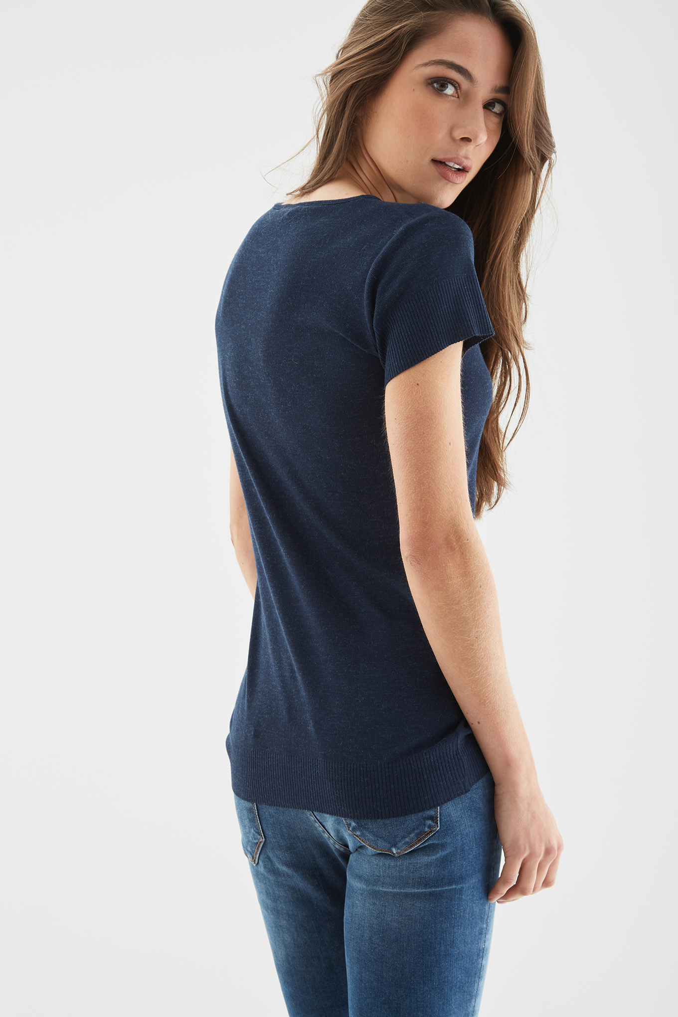 T-Shirt Azul Escuro Casual Mulher