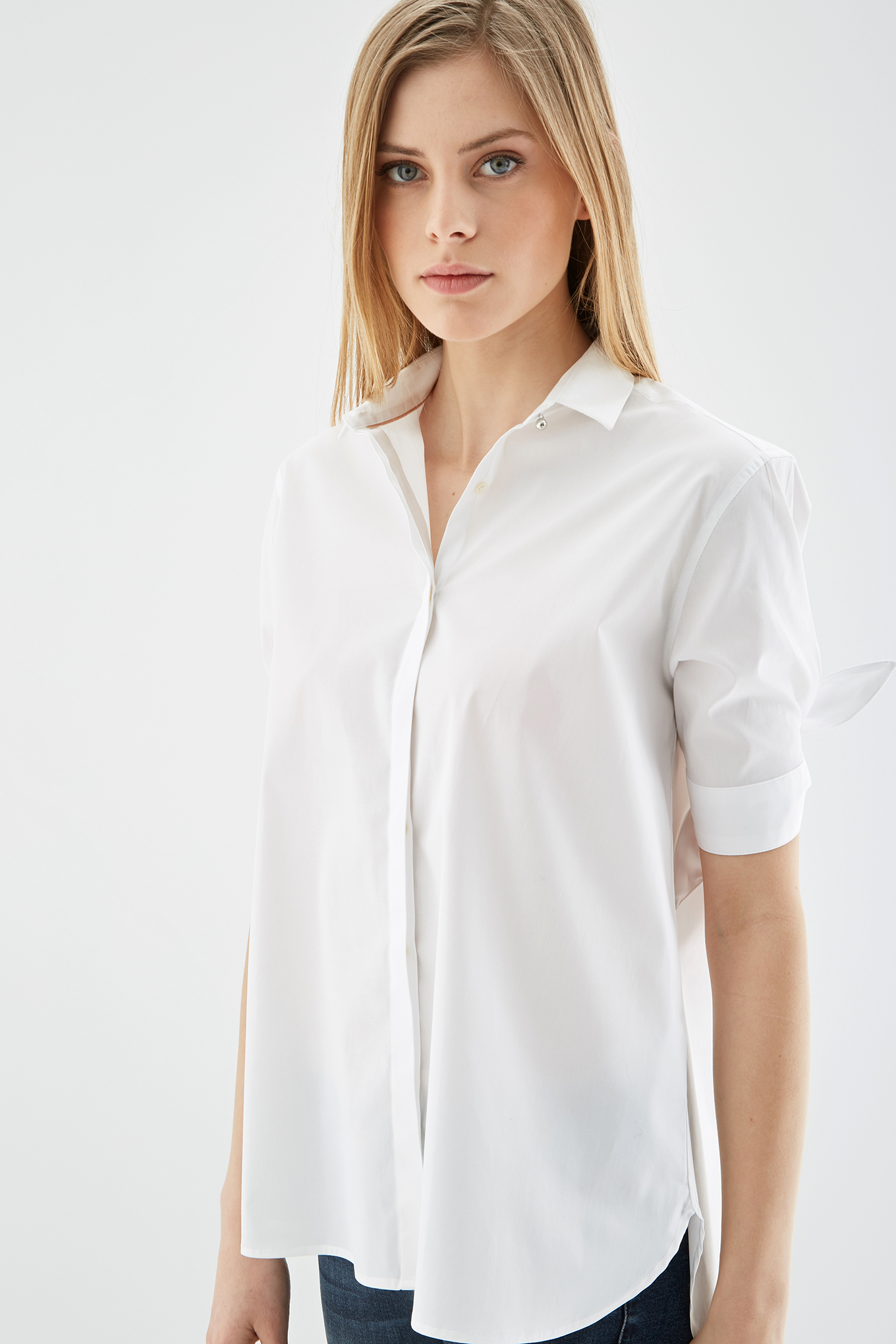 Blusa Branco Casual Mulher