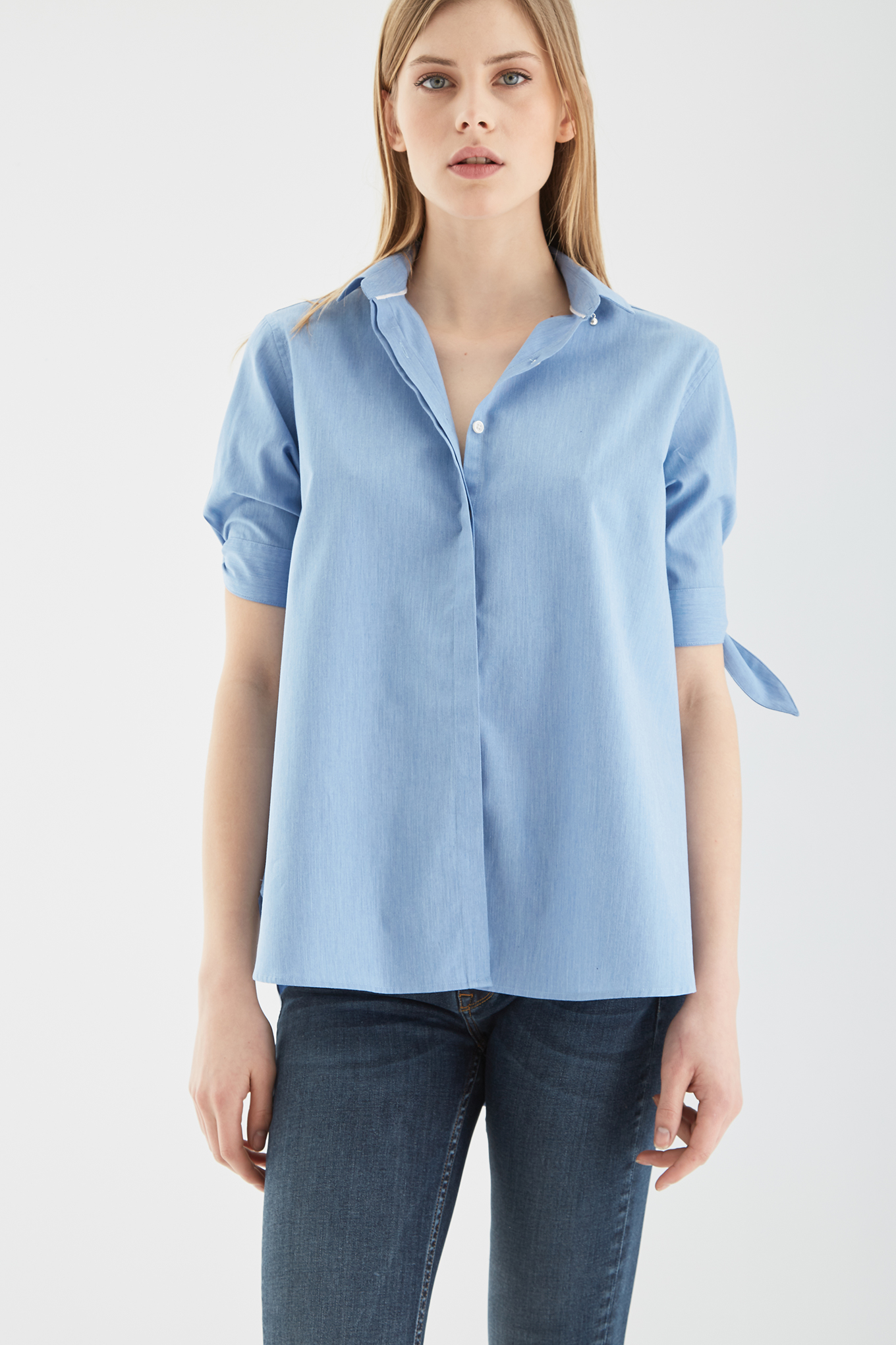 Blouse Blue Casual Woman