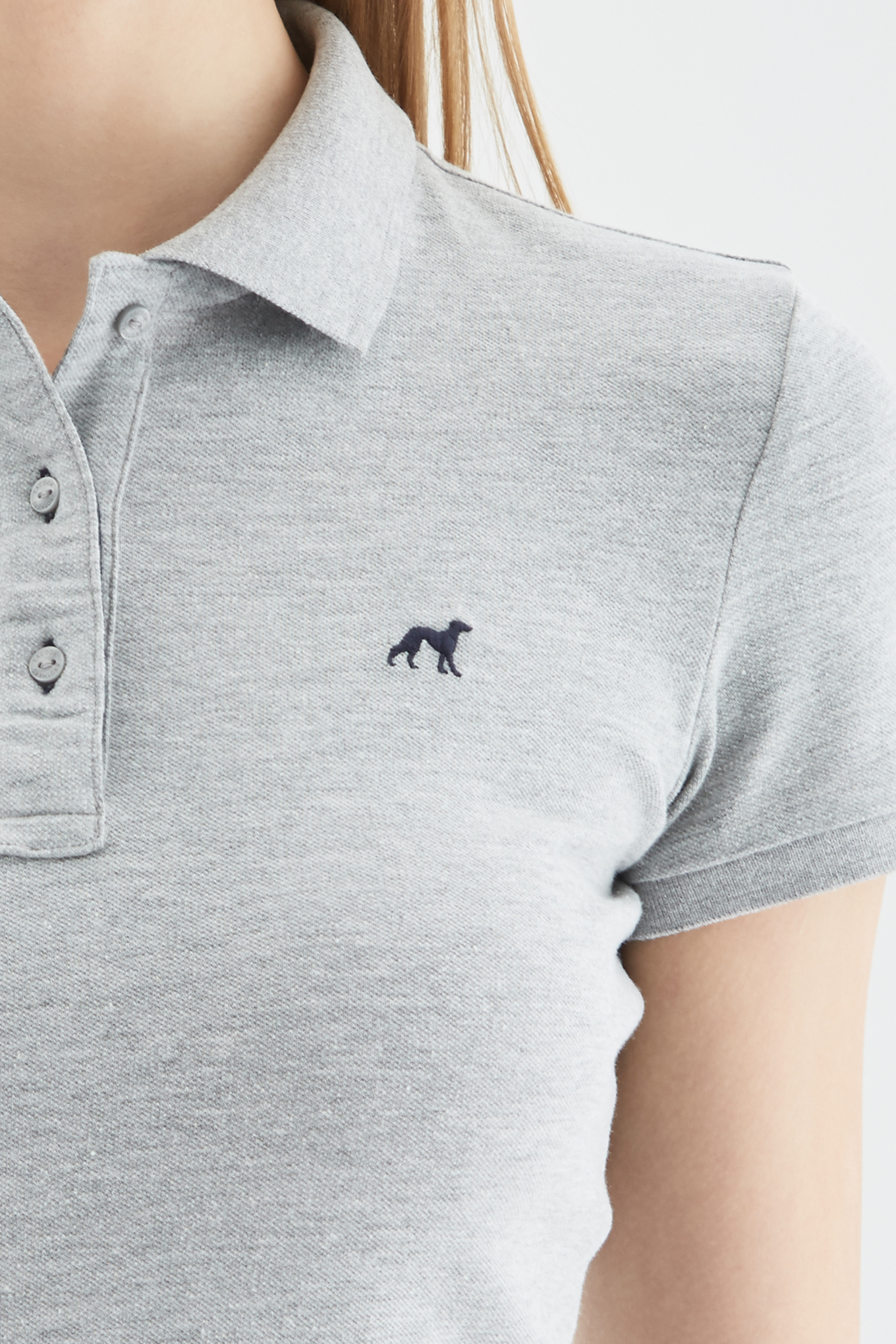 Polo Piquet Mix Grey Sport Woman