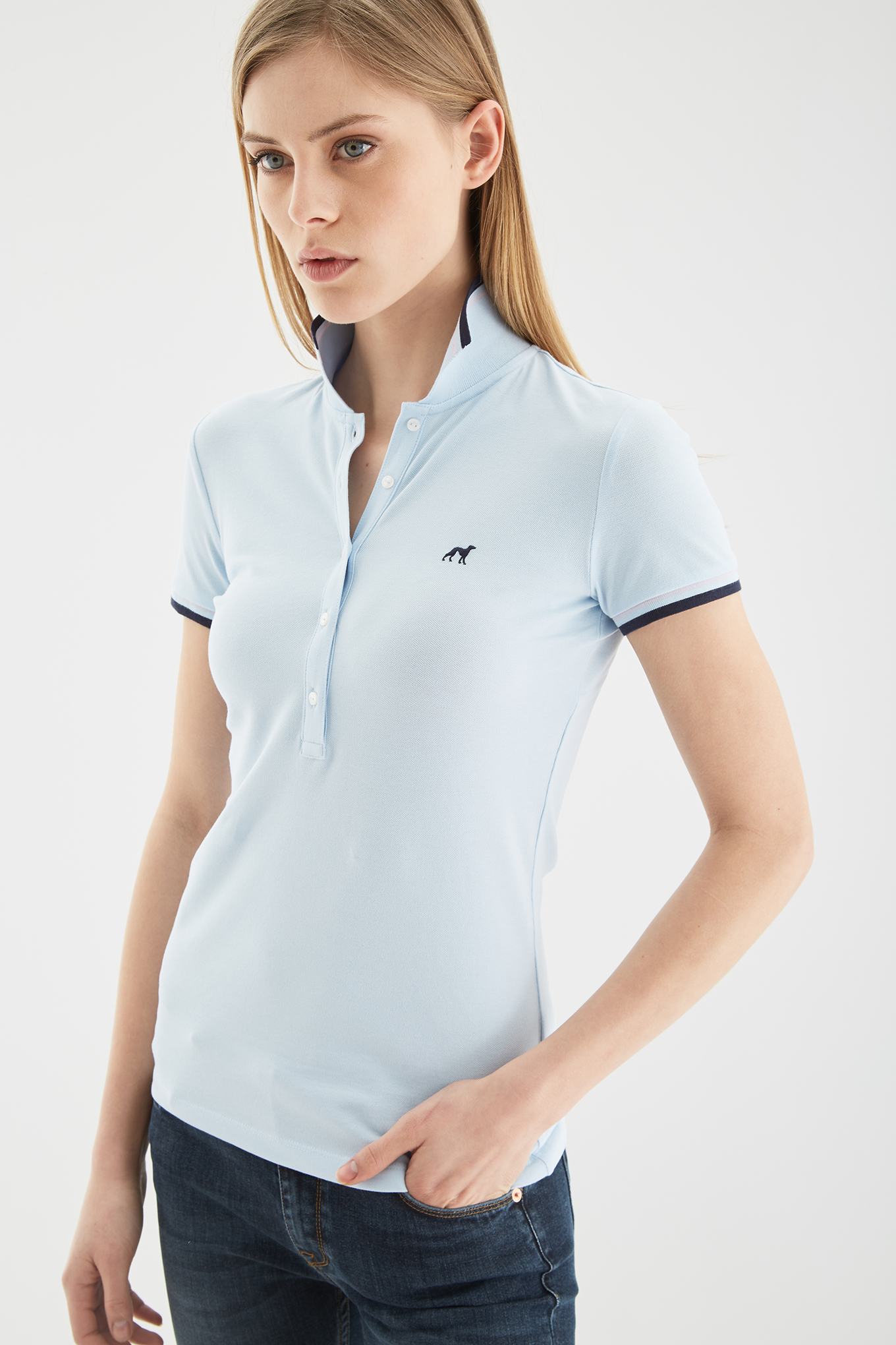 Polo Piquet Light Blue Sport Woman
