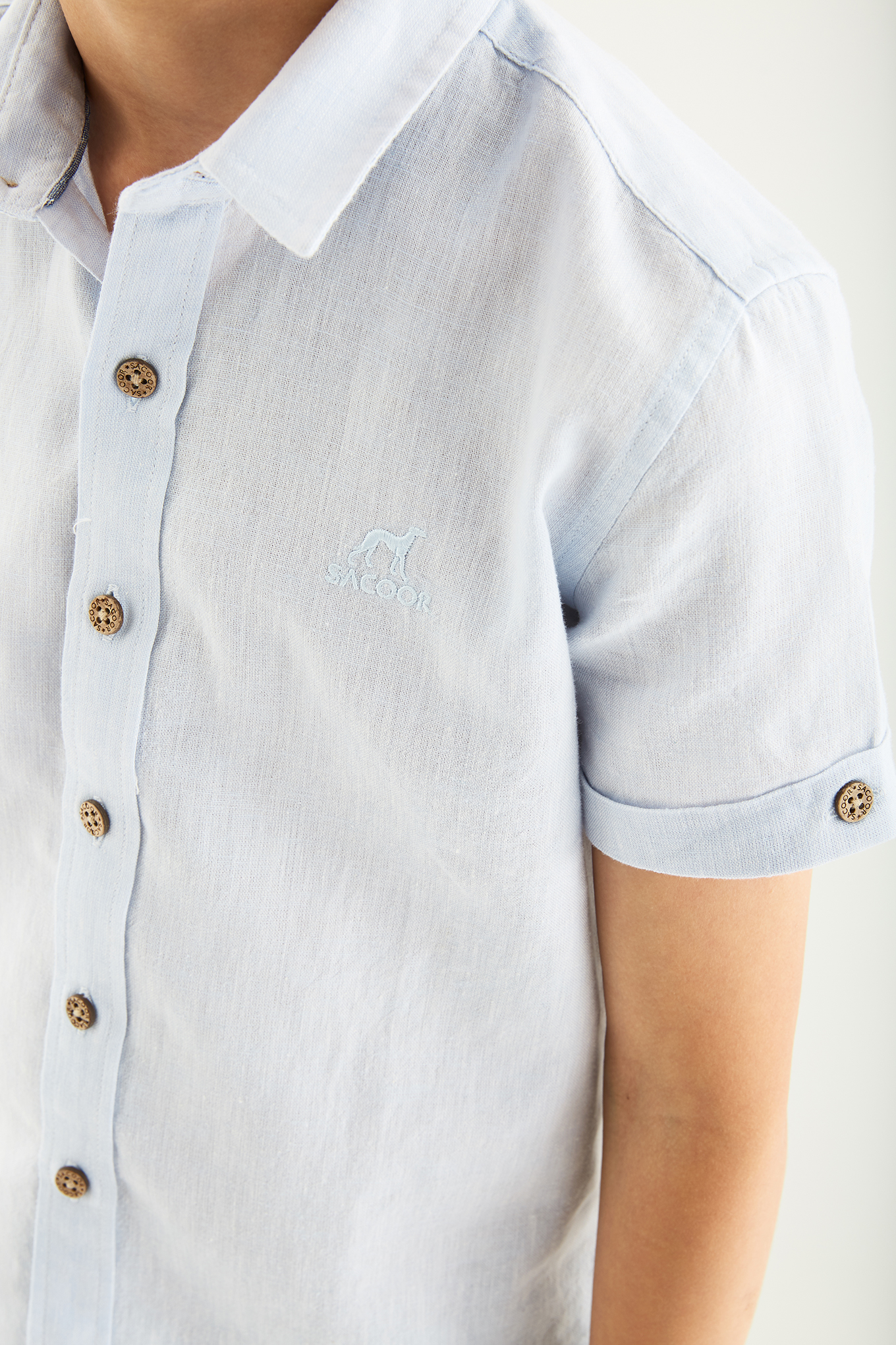Shirt Light Blue Casual Boy