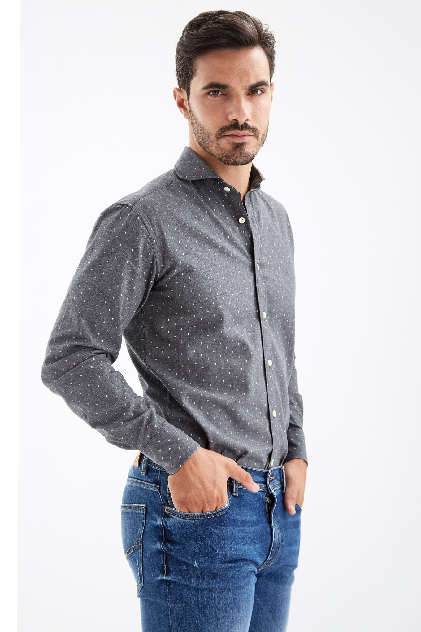 Shirt Dark Grey Casual Man
