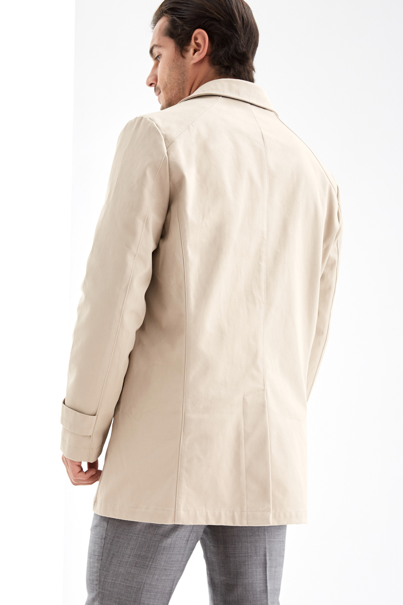 Raincoat Beige Casual Man