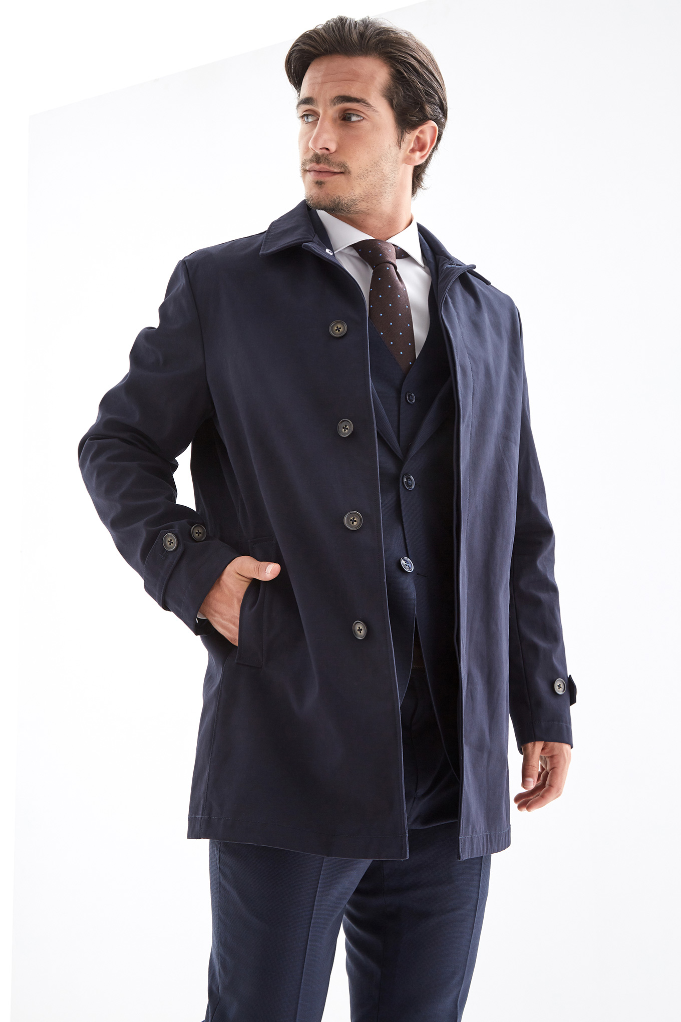 Raincoat Dark Blue Casual Man