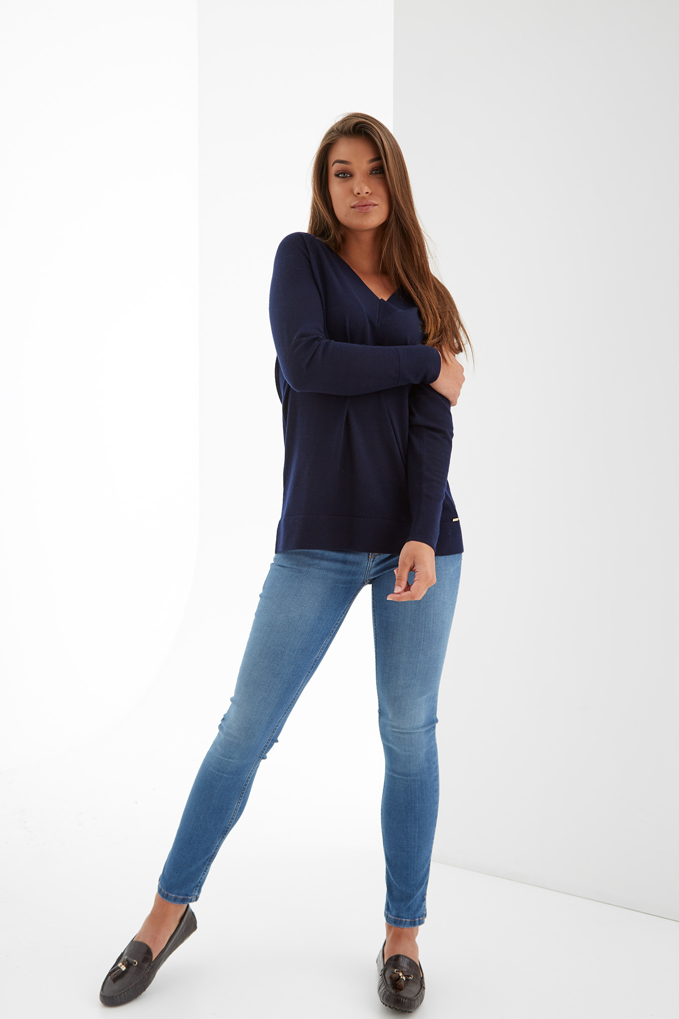 Sweater Dark Blue Casual Woman