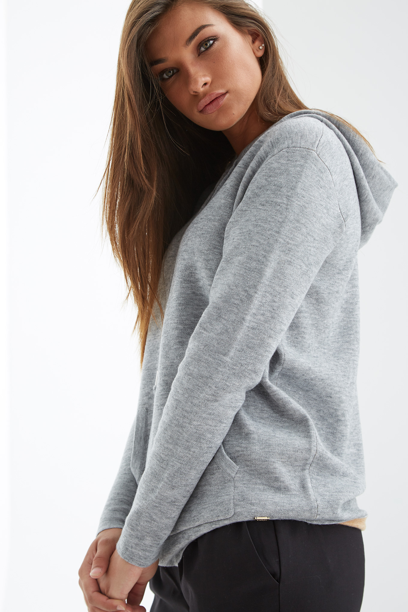 Sweater Mix Grey Casual Woman