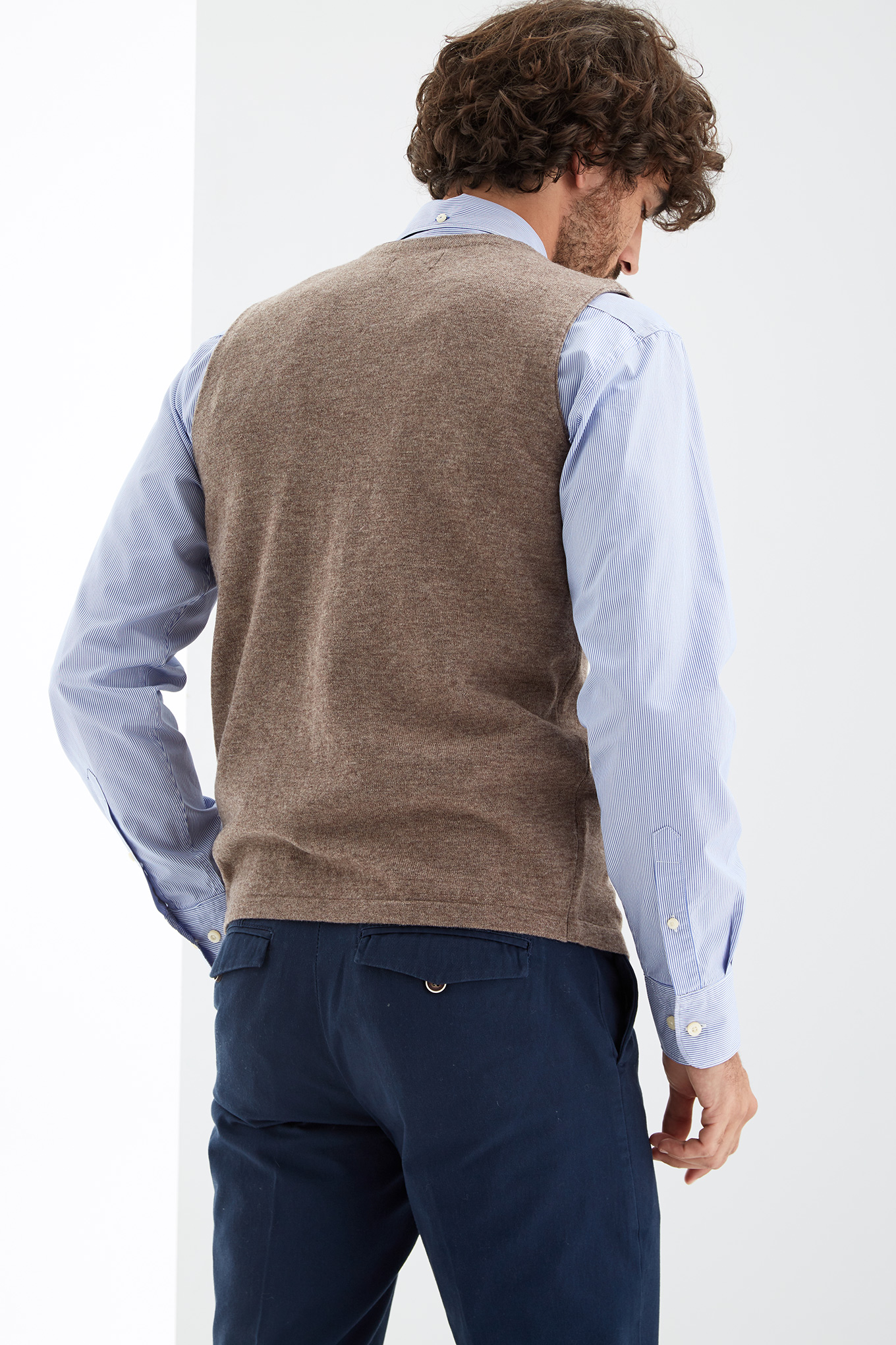 Waist Coat Sweater Dark Beige Sport Man
