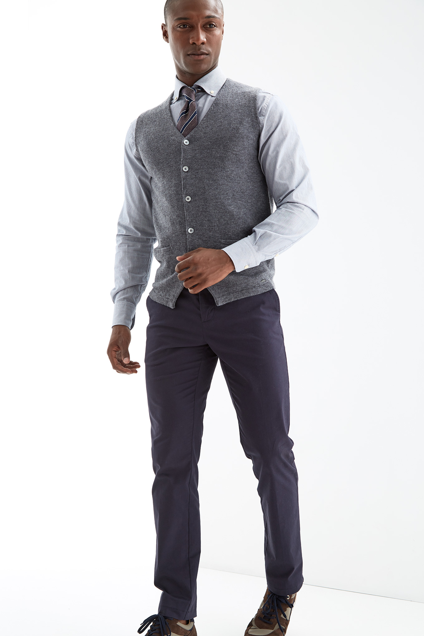 Waist Coat Sweater Dark Grey Sport Man