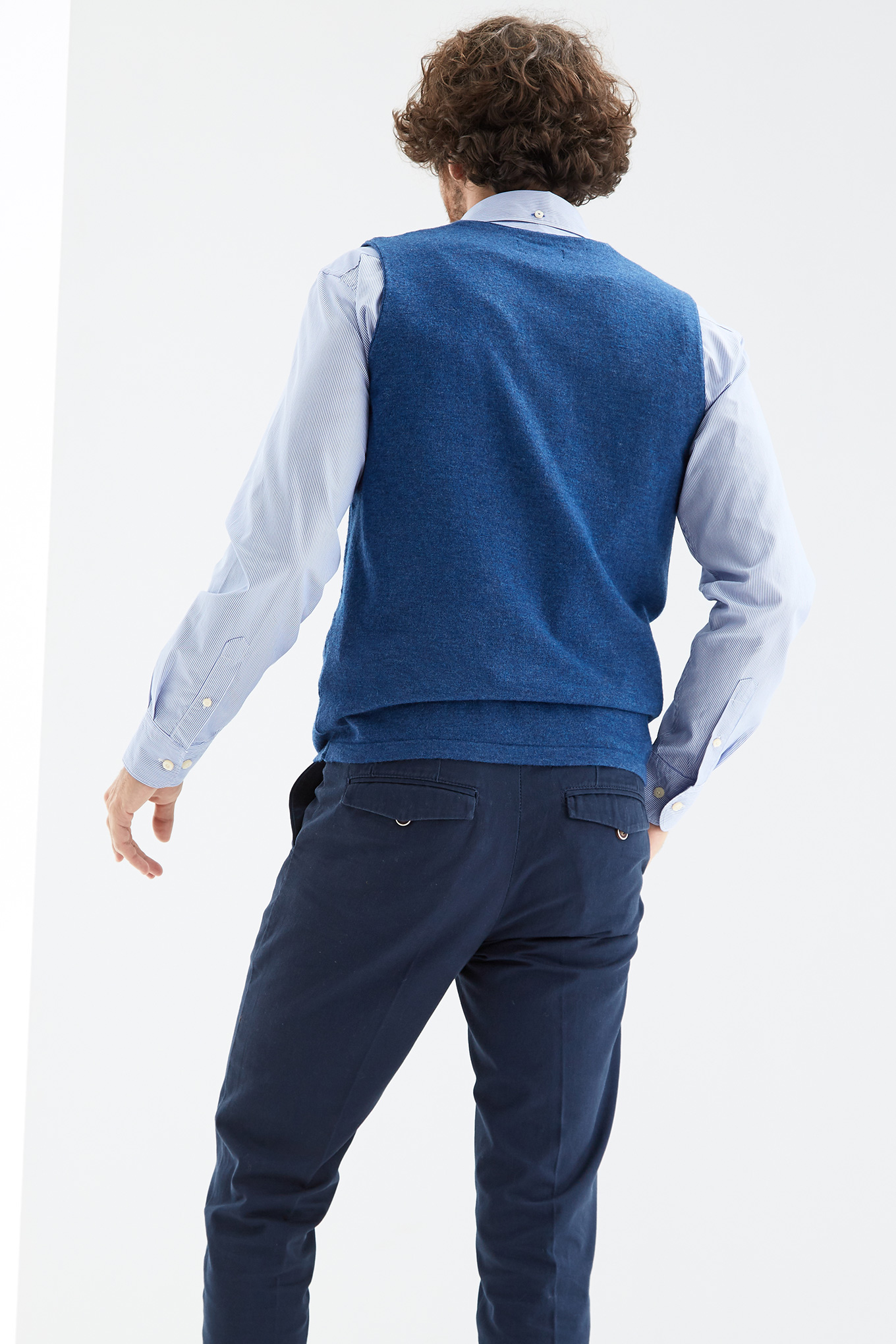 Waist Coat Sweater Medium Blue Sport Man