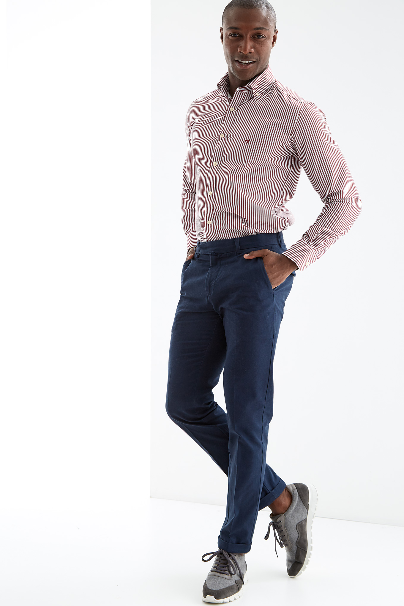 Shirt Bordeaux Casual Man