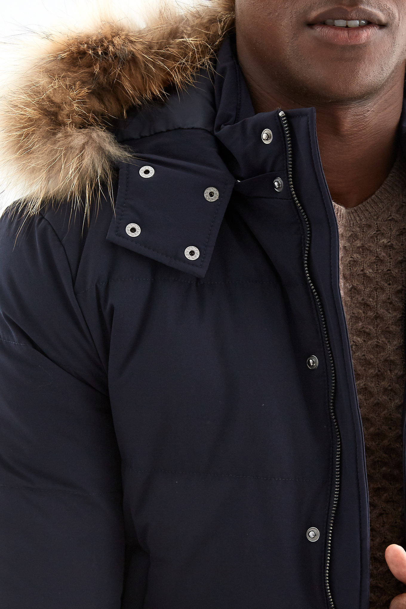 Parka Dark Blue Casual Man