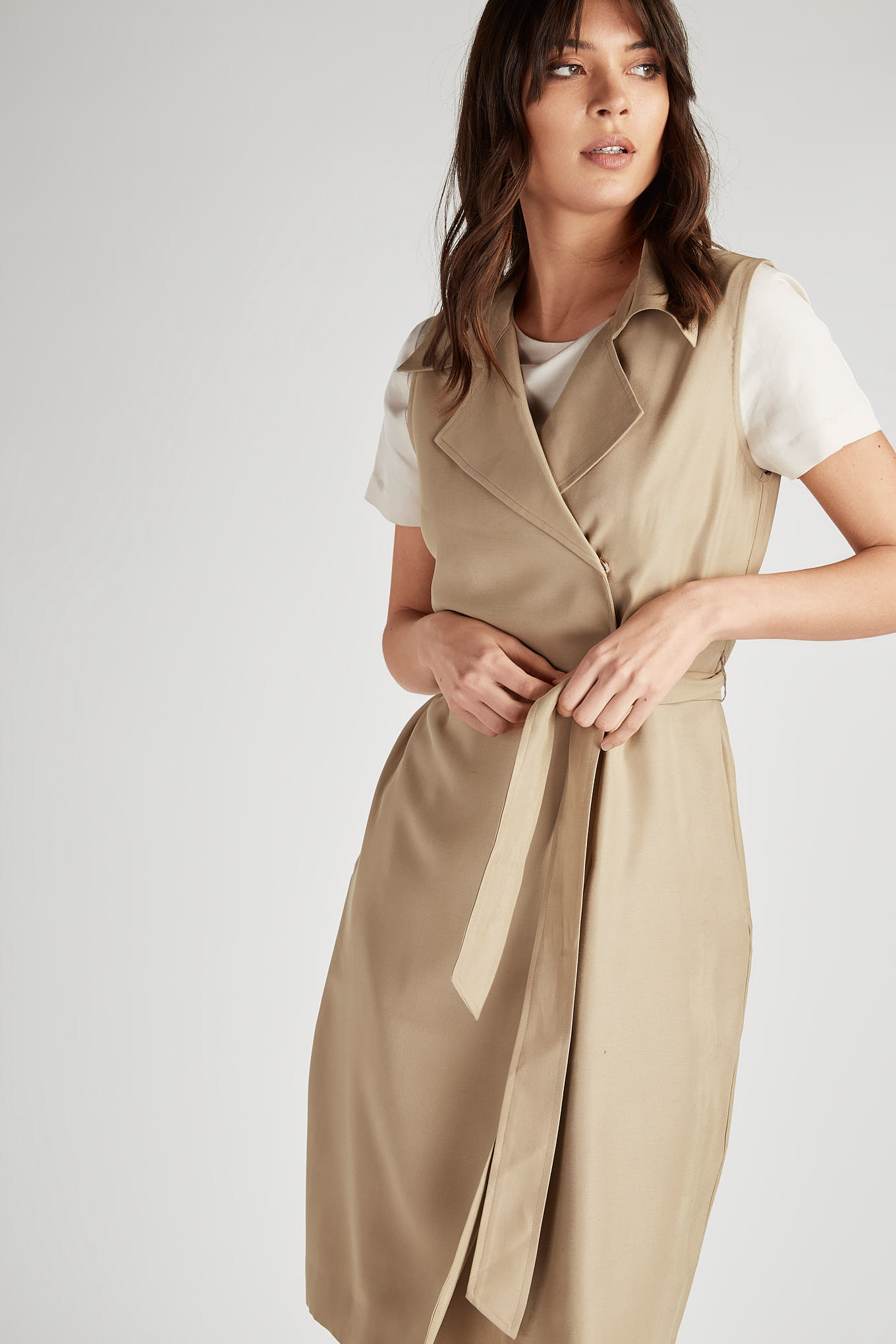 Dress Beige Classic Woman