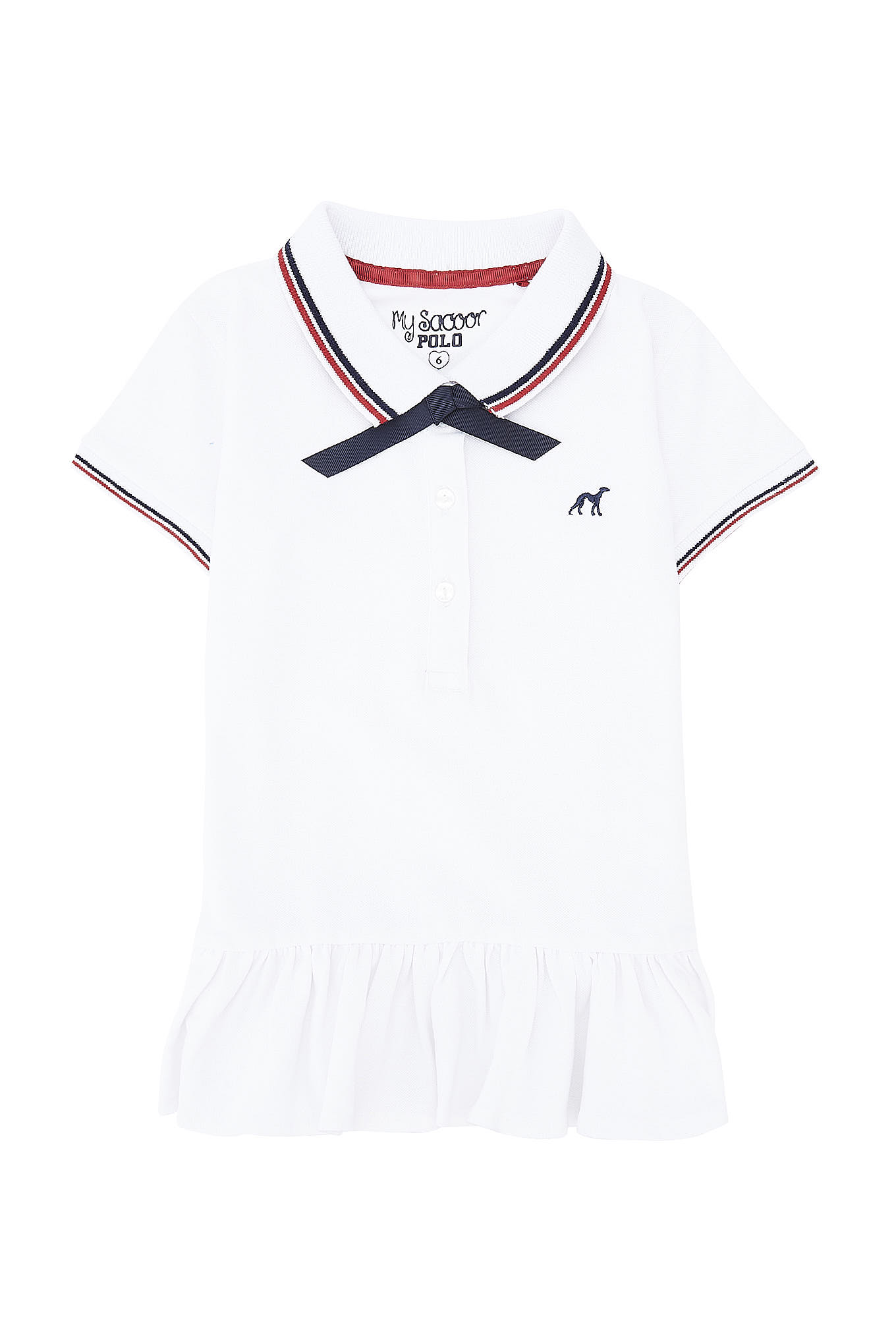 Polo Piquet Branco Sport Rapariga