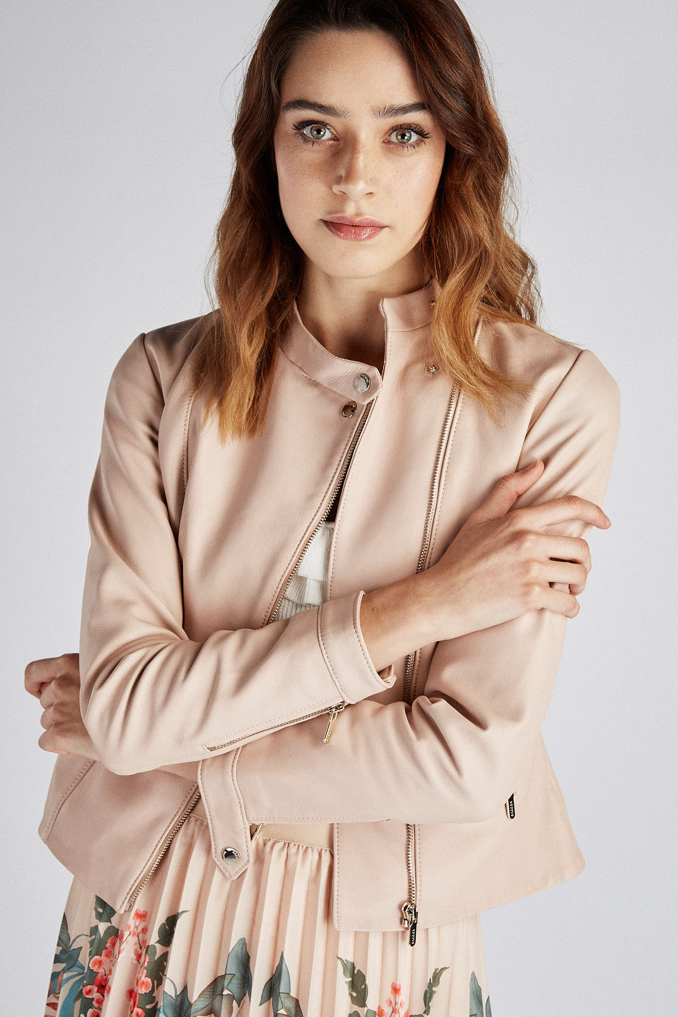 Leather Jacket Pale Pink Sport Woman