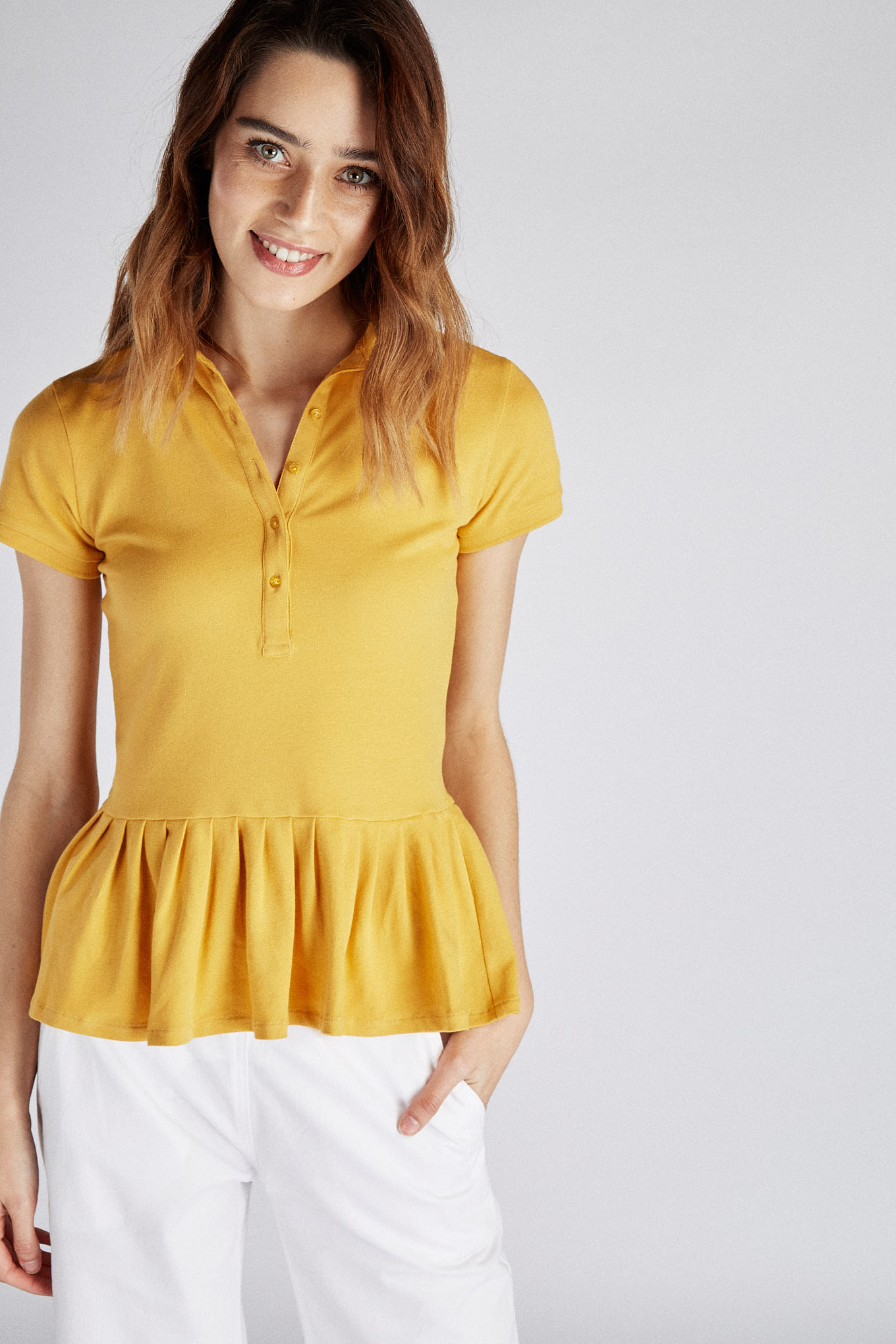 Polo Piquet Yellow Sport Woman
