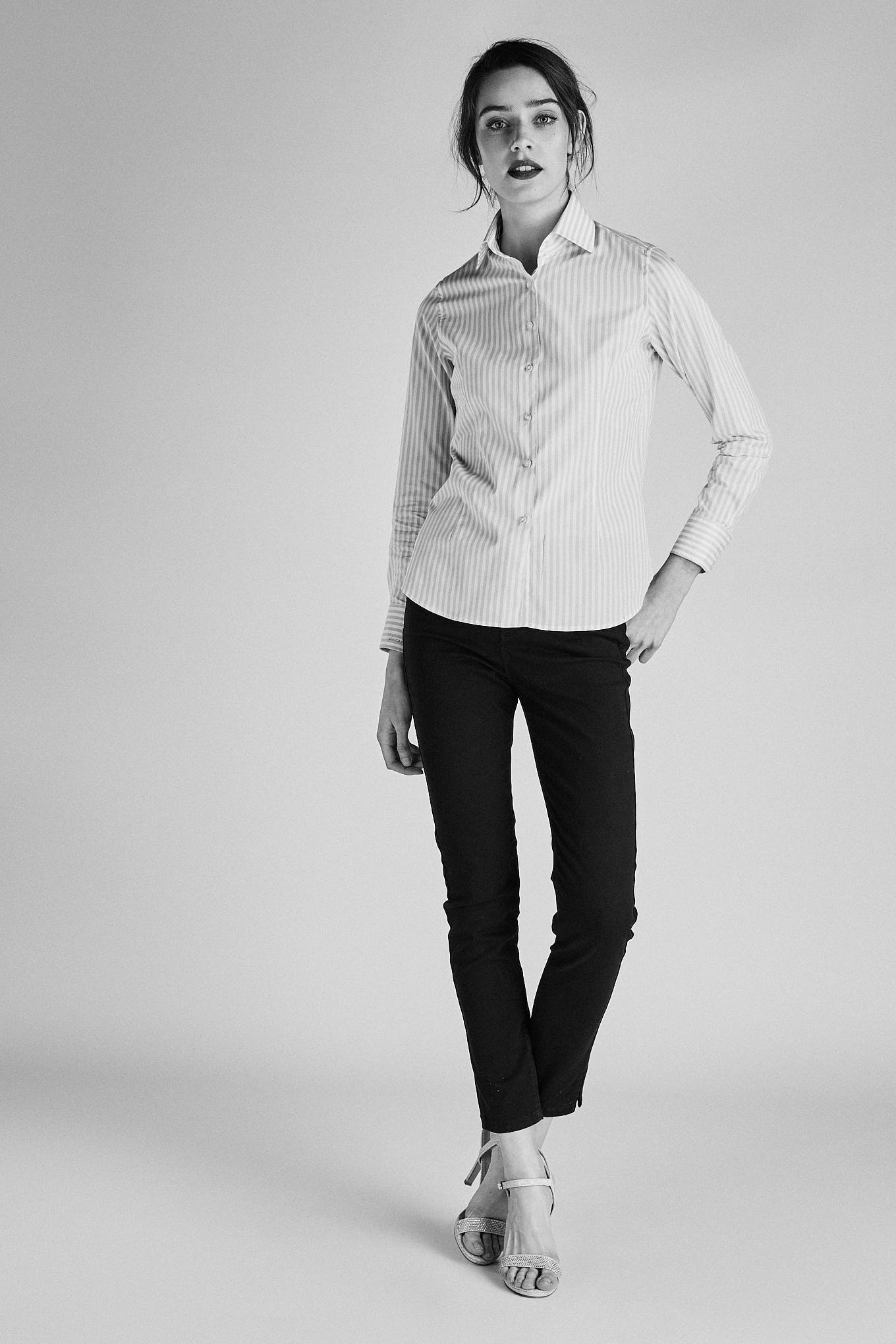 Shirt Light Grey Classic Woman
