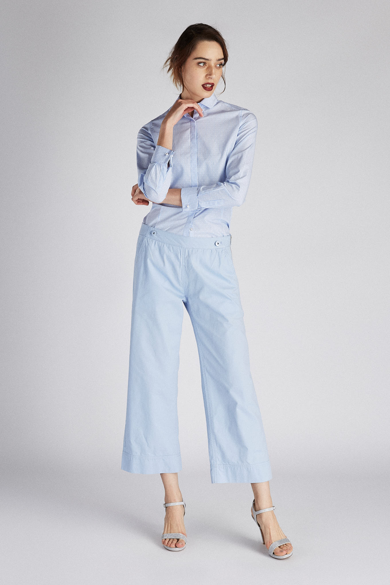 Chino Trousers Light Blue Casual Woman