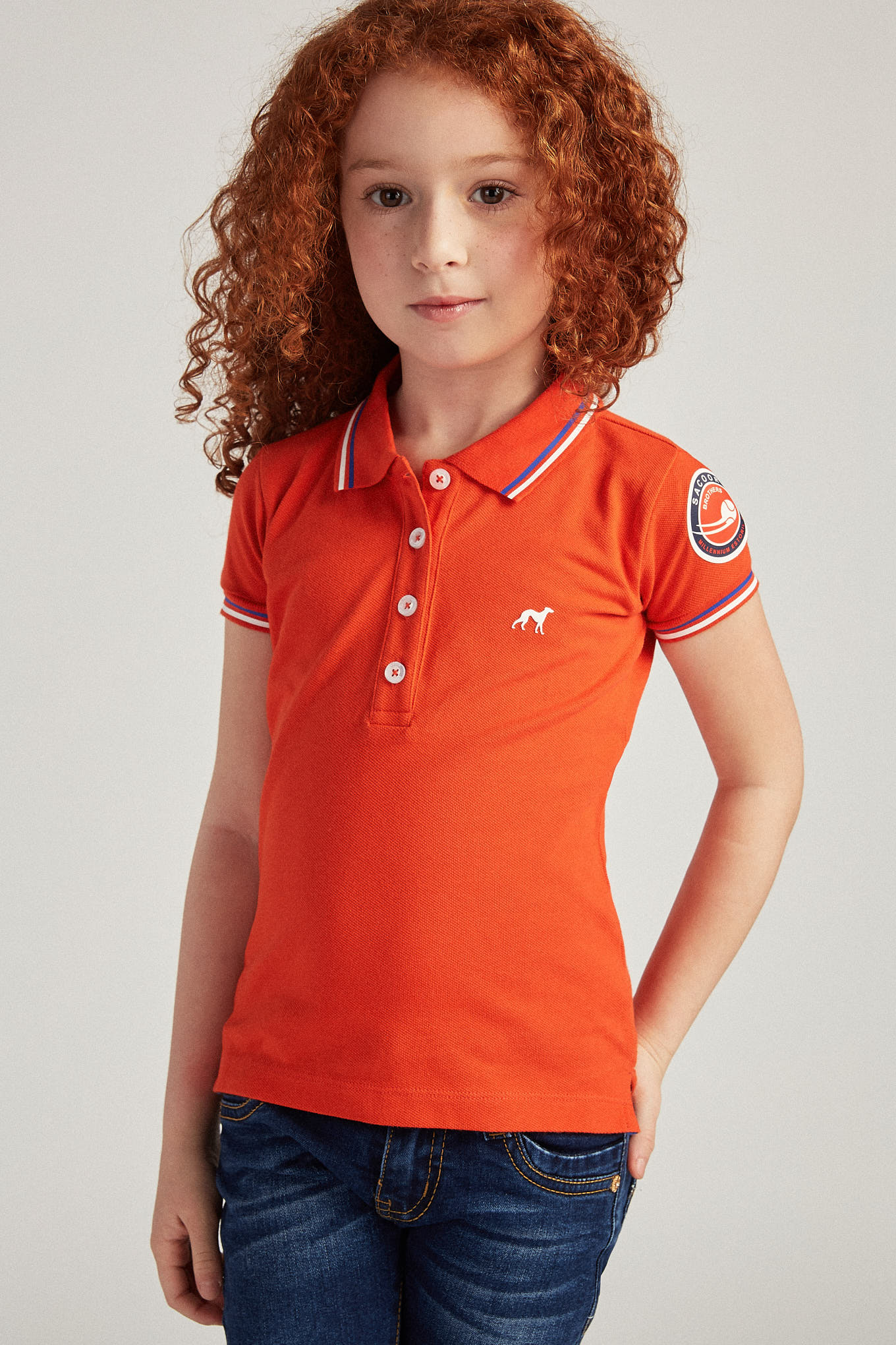 Polo Piquet Orange Sport Girl