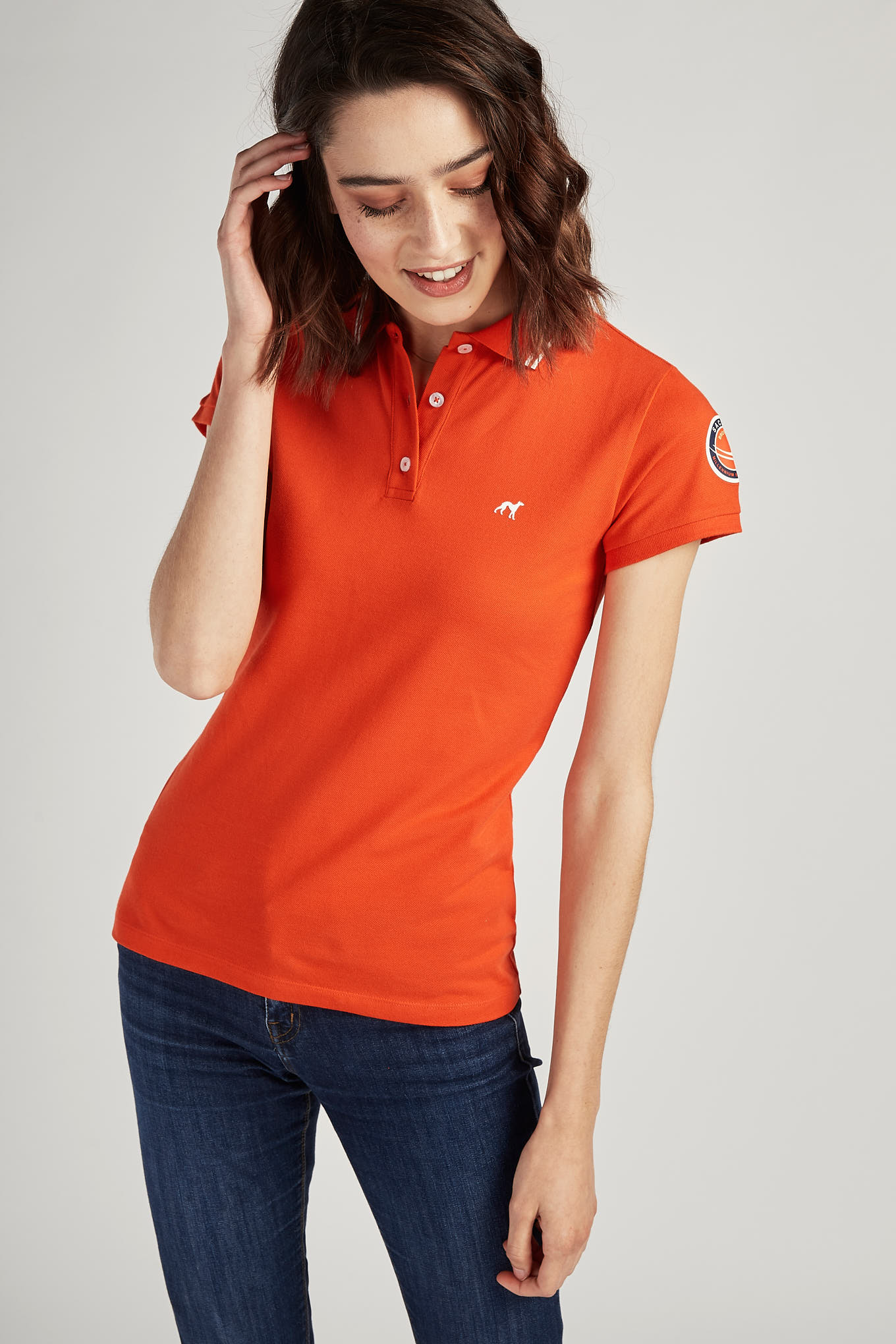 Polo Piquet Orange Sport Woman