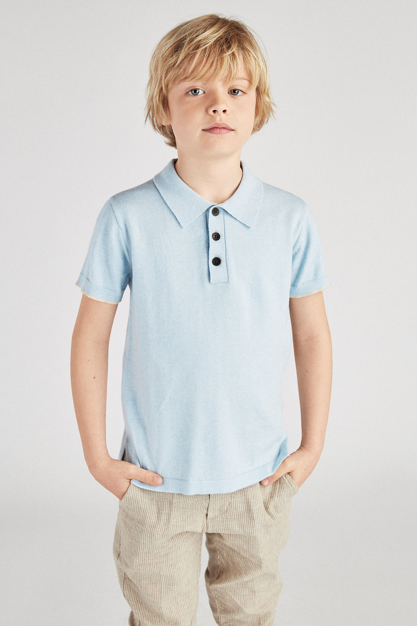 Polo Sweater Light Blue Casual Boy