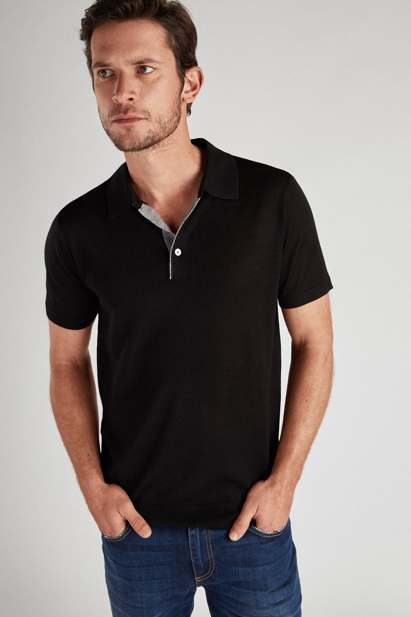 Polo Sweater Black Casual Man