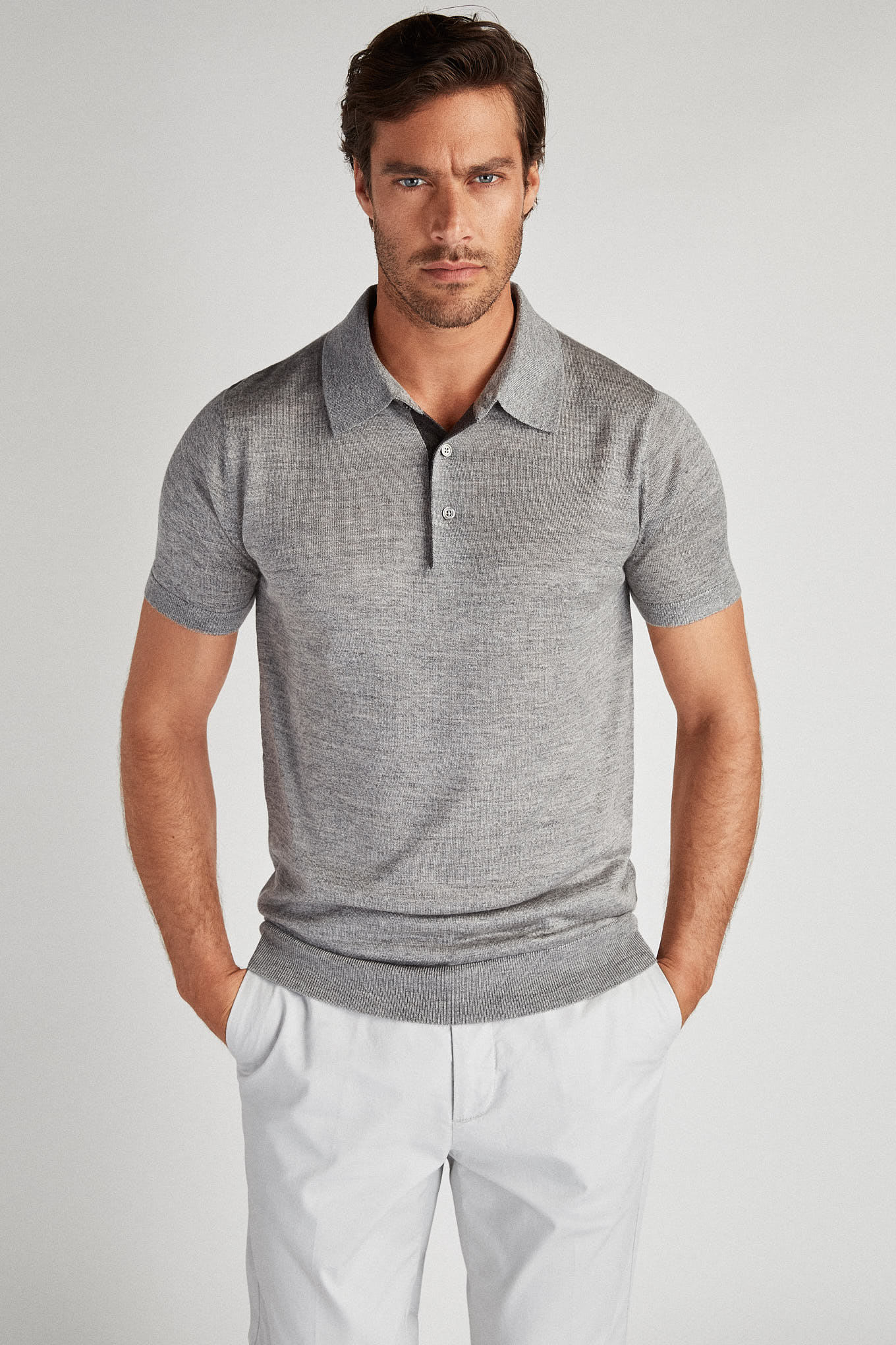 Polo Sweater Mix Grey Casual Man
